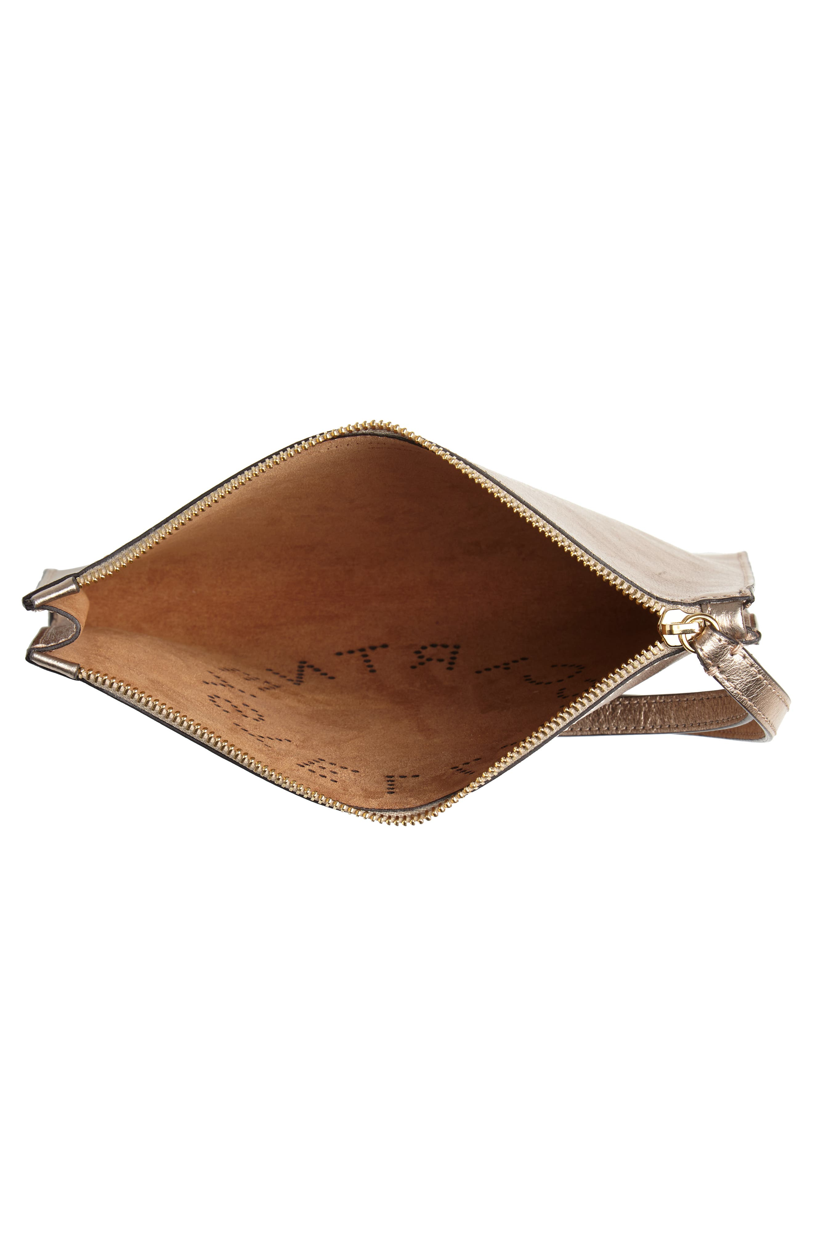 STELLA MCCARTNEY, Metallic Faux Nappa Leather Wristlet Clutch, Alternate thumbnail 4, color, 715