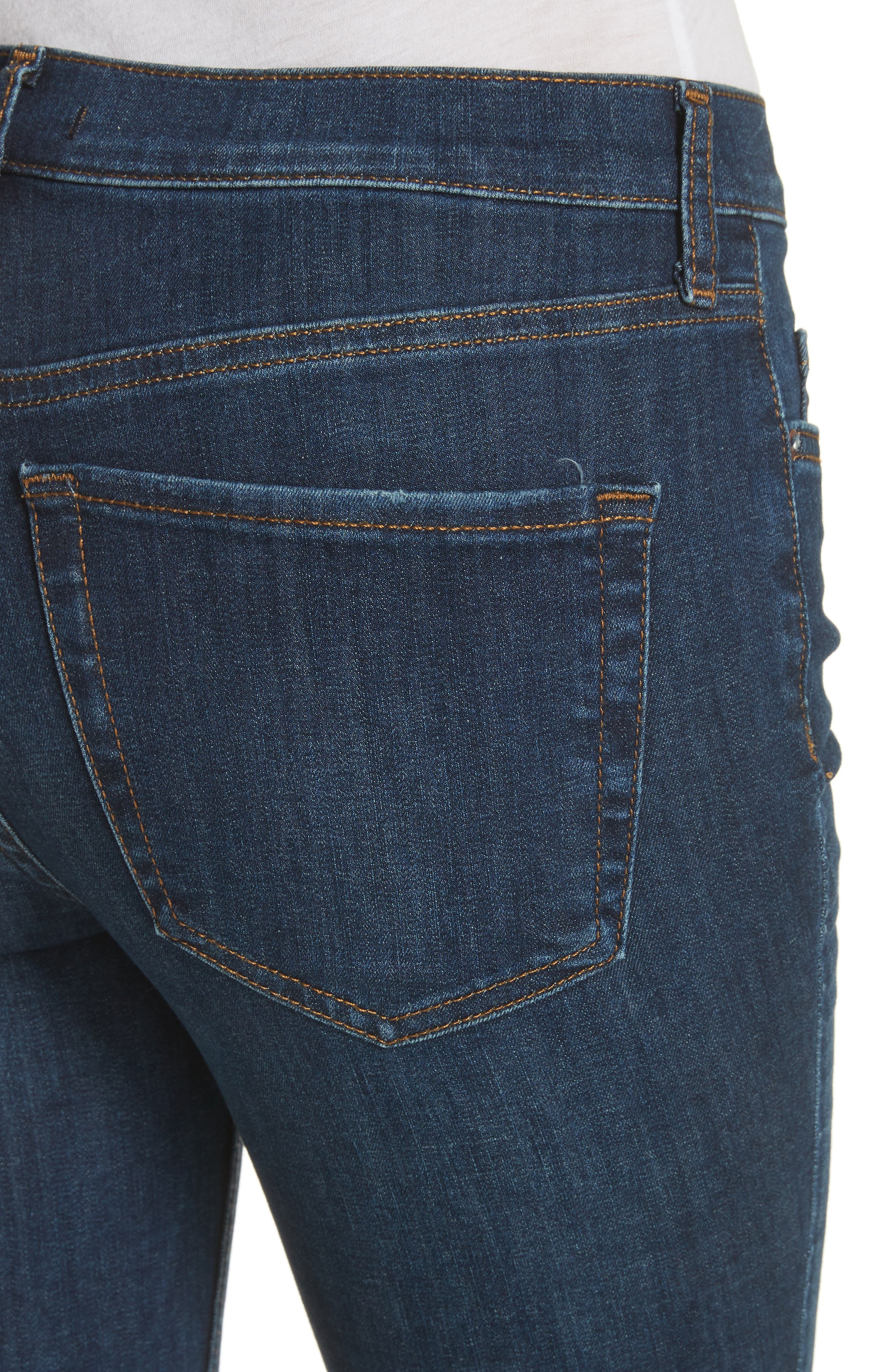 FREE PEOPLE, We the Free by Free People High Waist Ankle Skinny Jeans, Alternate thumbnail 5, color, DARK BLUE