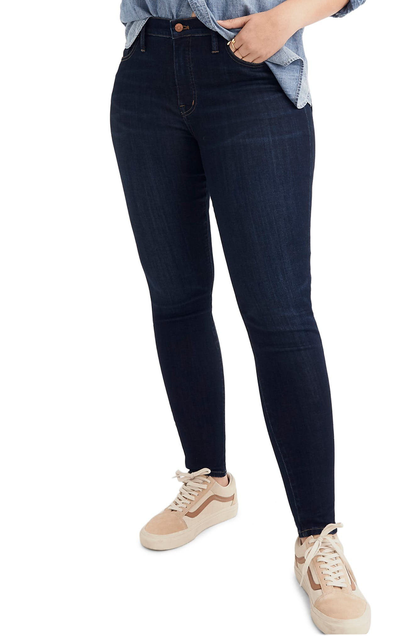 MADEWELL, 9-Inch High Rise Skinny Jeans, Alternate thumbnail 2, color, LARKSPUR