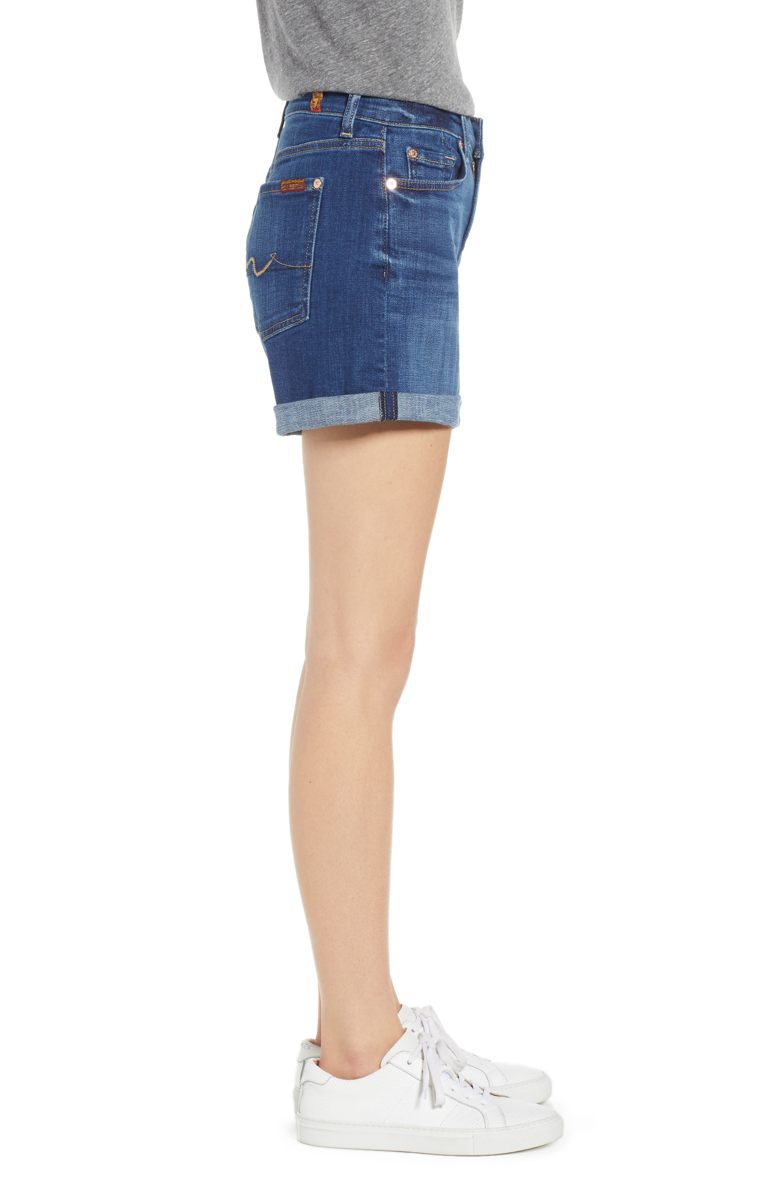 7 FOR ALL MANKIND<SUP>®</SUP>, Roll Cuff Denim Shorts, Alternate thumbnail 4, color, BROKEN TWILL VANITY CLEAN