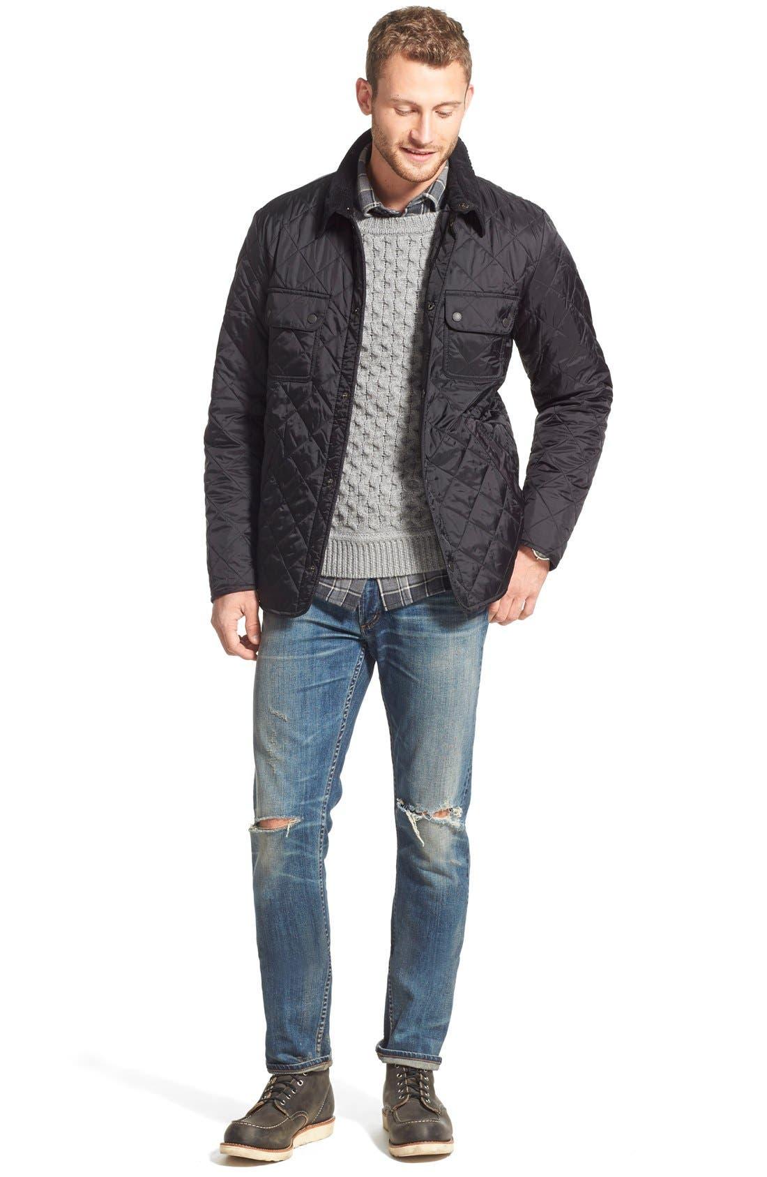 BARBOUR, 'Tinford' Regular Fit Quilted Jacket, Alternate thumbnail 6, color, 001