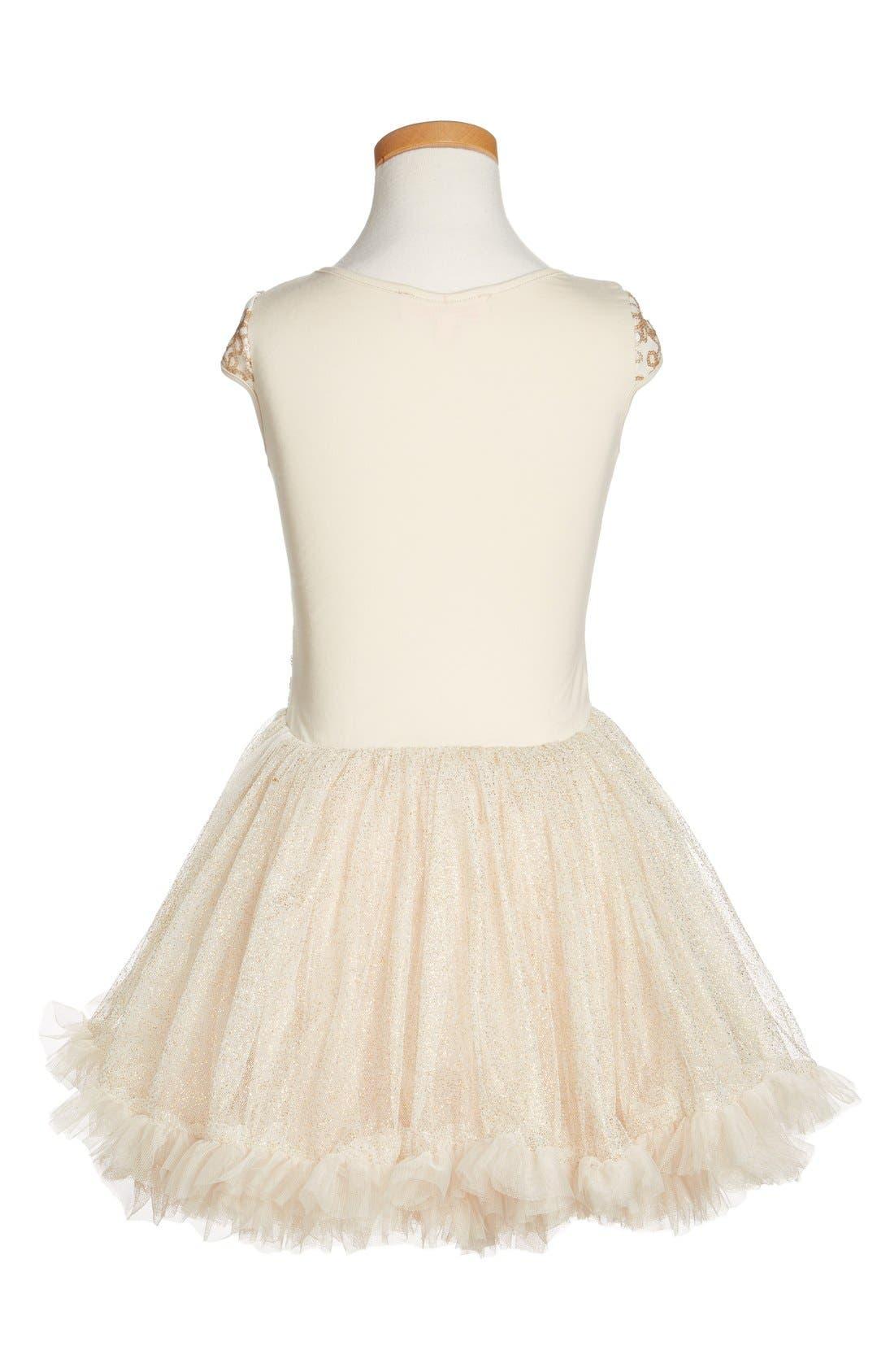 POPATU, Sequin Cap Sleeve Dress, Alternate thumbnail 2, color, GOLD