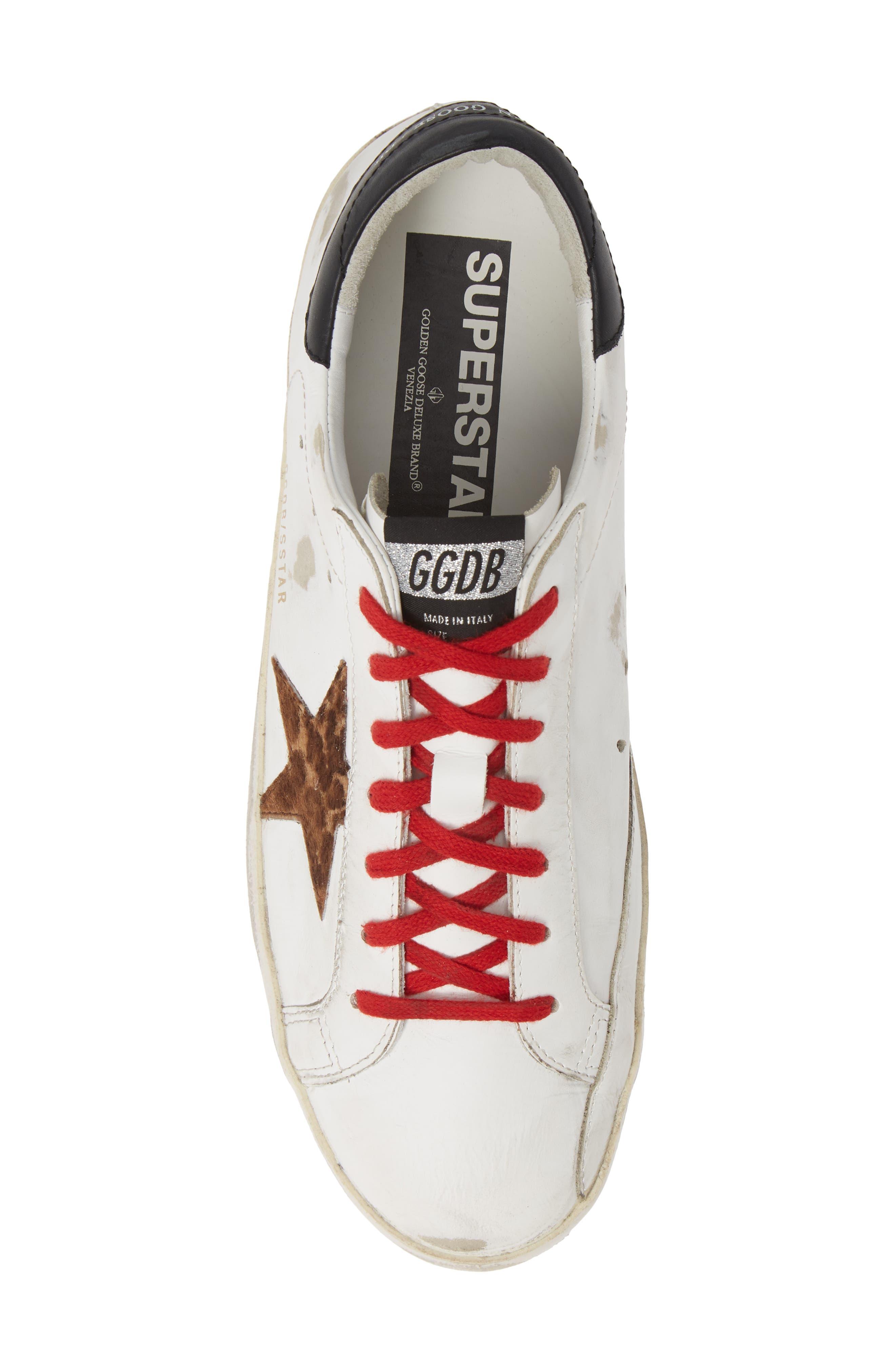 GOLDEN GOOSE, 'Superstar' Sneaker, Alternate thumbnail 5, color, WHITE/ BLACK