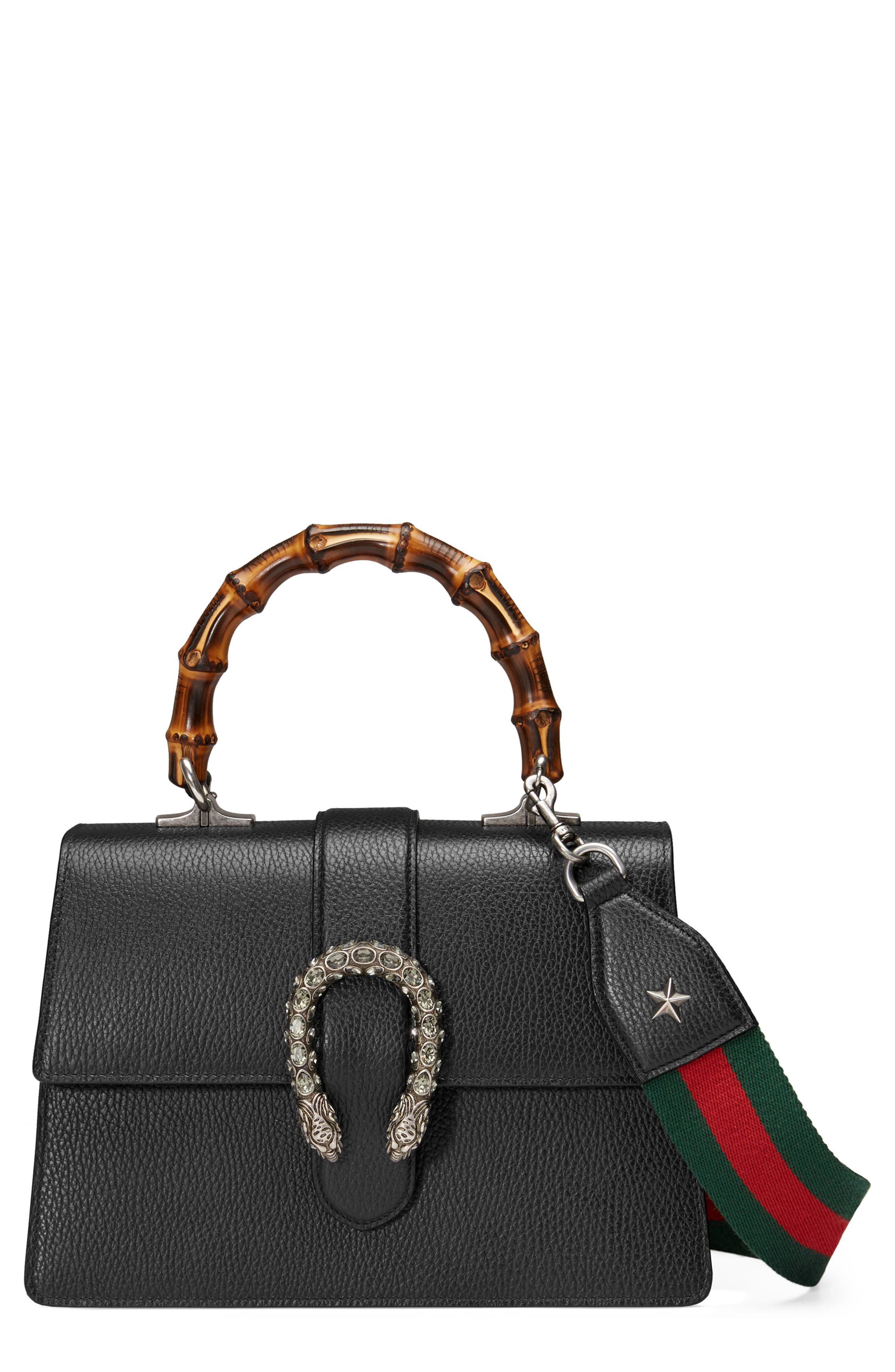GUCCI, Medium Dionysus Leather Top Handle Satchel, Main thumbnail 1, color, NERO/ VRV/ BLACK DIAMOND