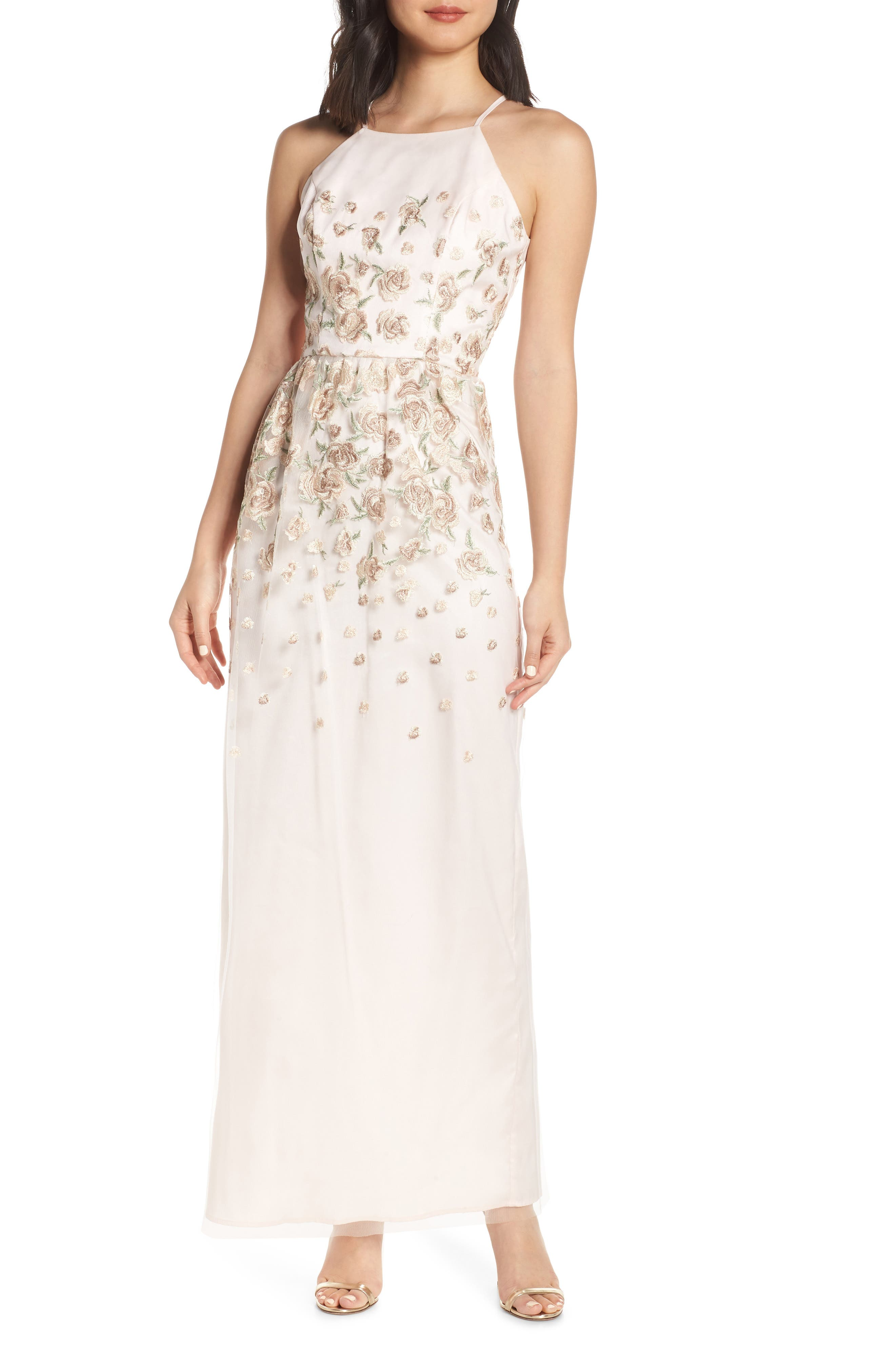 Chi Chi London Madelyn Embroidered Mesh Evening Dress, Beige