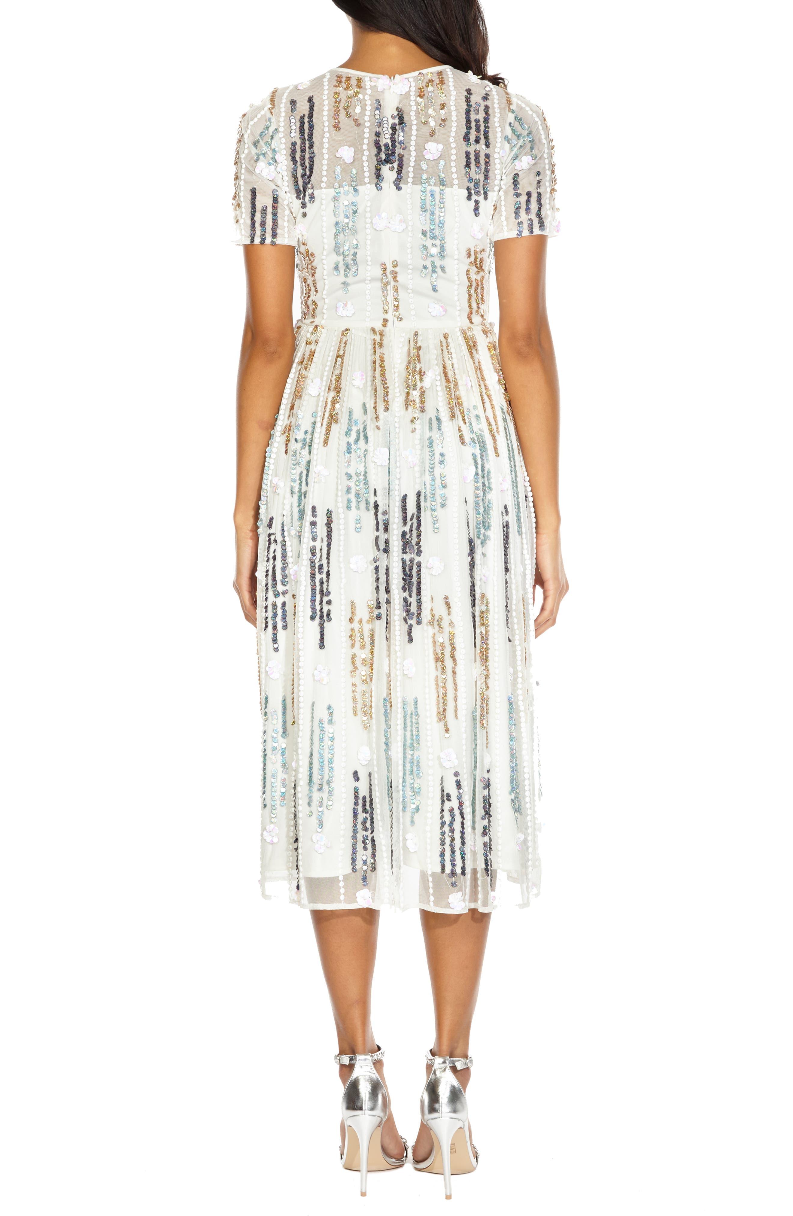 LACE & BEADS, Crichet Sequin Midi Dress, Alternate thumbnail 2, color, 100