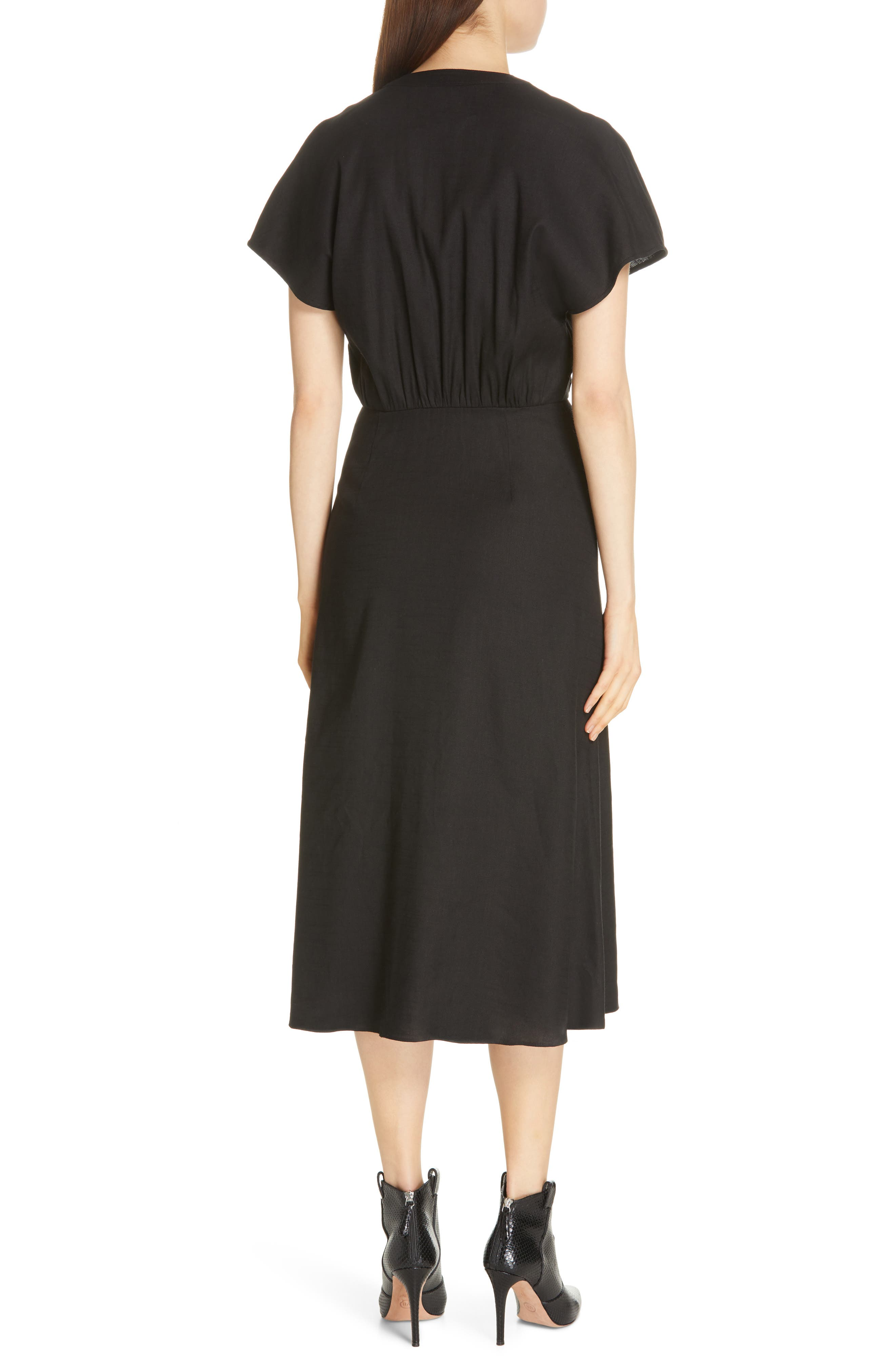 VERONICA BEARD, Giana Tie Waist Linen Blend Midi Dress, Alternate thumbnail 2, color, BLACK