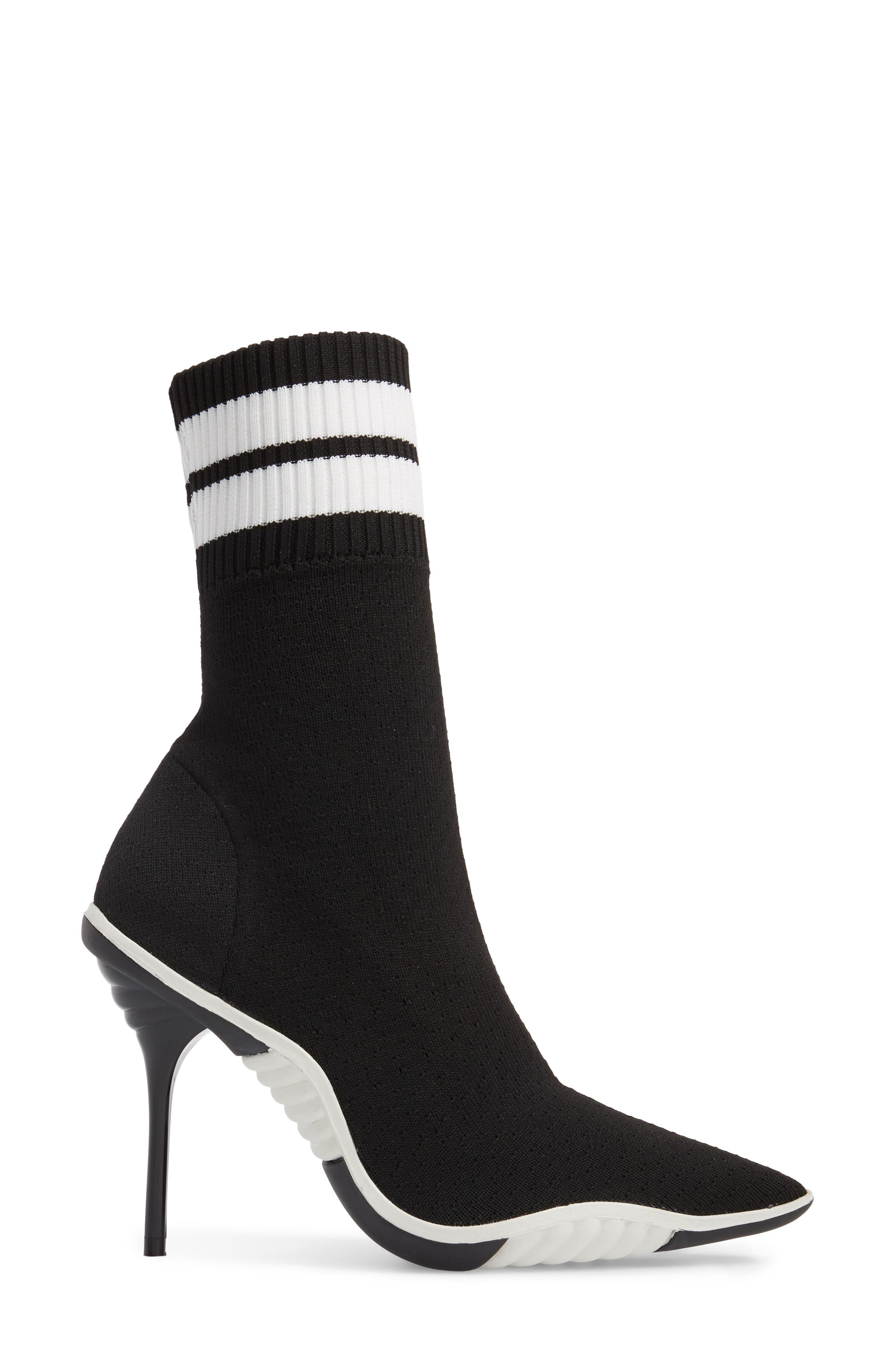 JEFFREY CAMPBELL, Goal Sock Sneaker Bootie, Alternate thumbnail 3, color, BLACK/ WHITE FABRIC