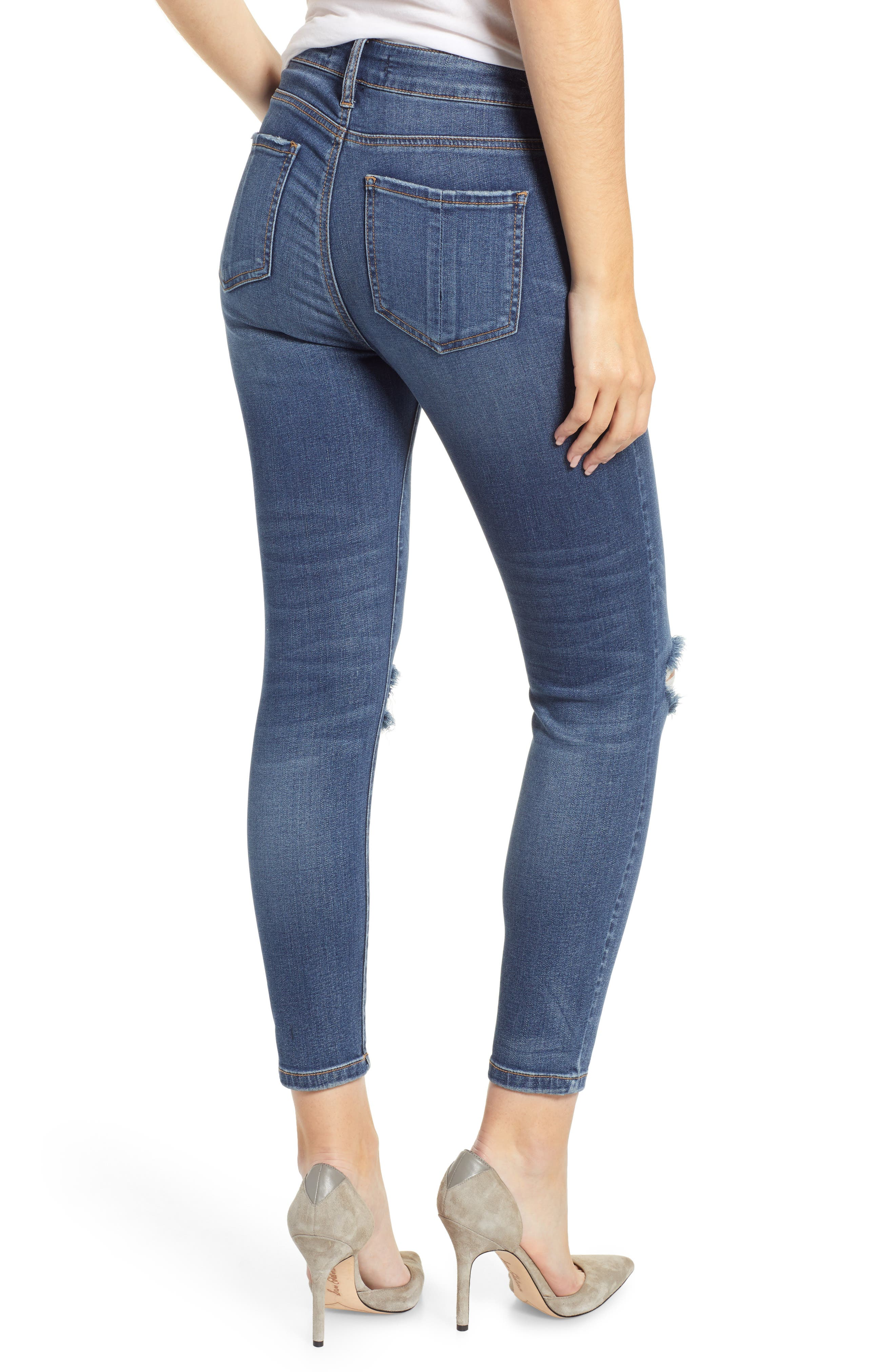 PROSPERITY DENIM, Ripped High Waist Skinny Jeans, Alternate thumbnail 2, color, RAYA WASH