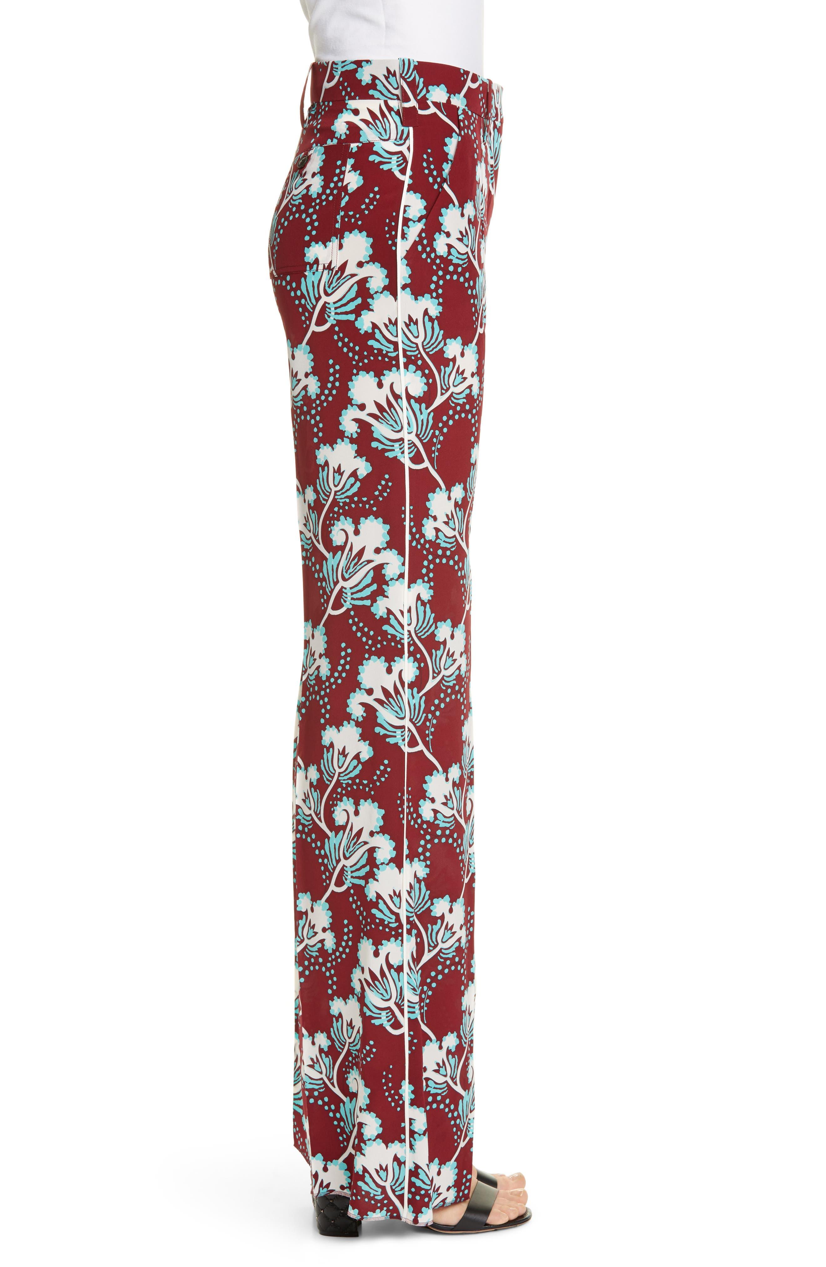 VALENTINO, Elderflower Print Wide Leg Silk Pants, Alternate thumbnail 3, color, GTB-GARNET/TURCHESE/BIANCO