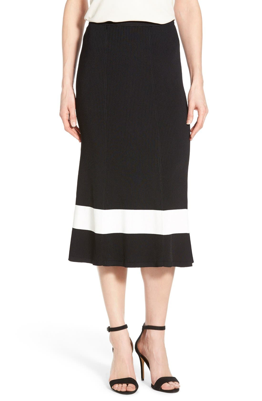 HALOGEN<SUP>®</SUP> Long Rib Knit Sweater Skirt, Main, color, 001