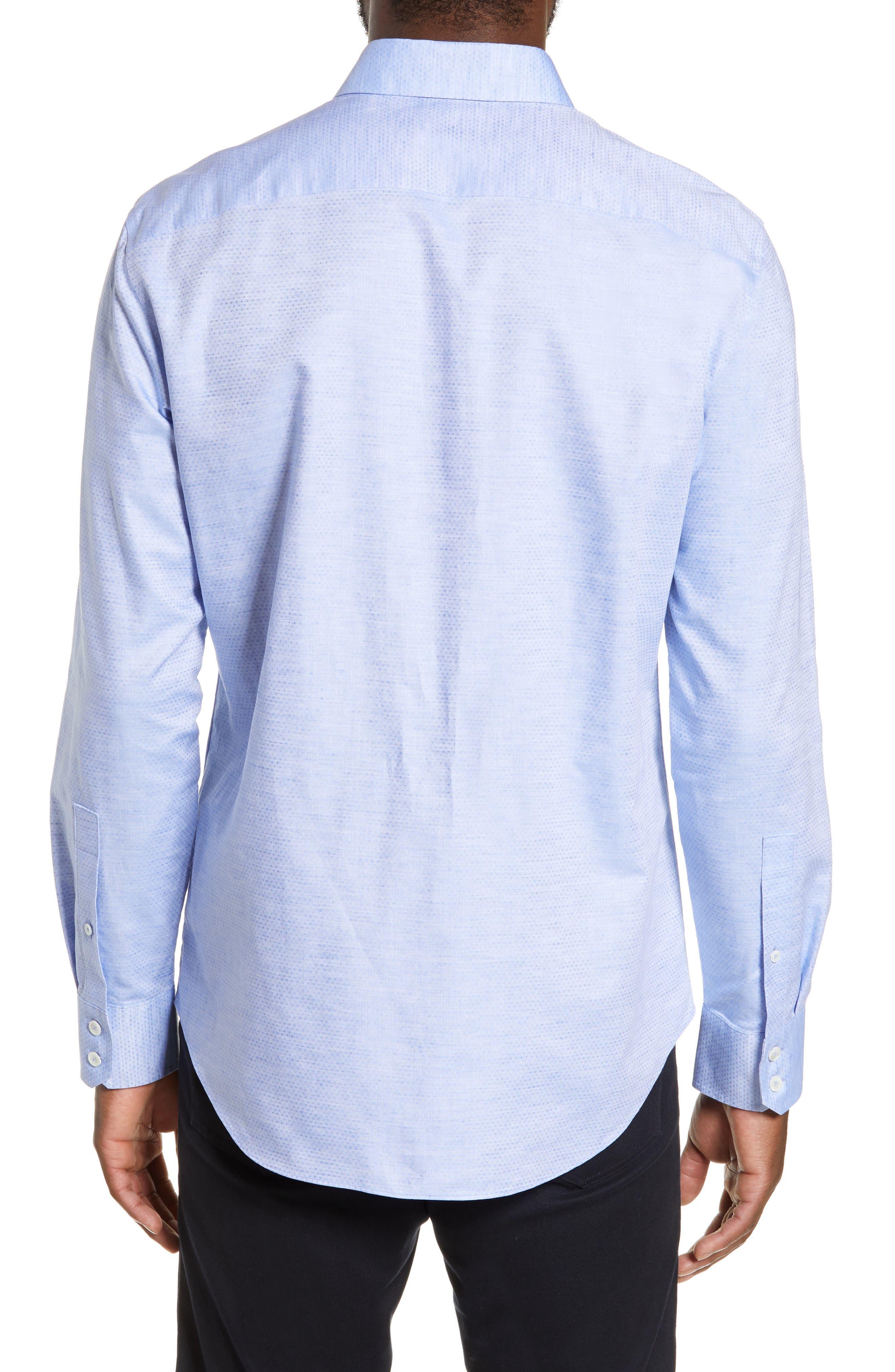 ZACHARY PRELL, Alfano Regular Fit Cotton & Linen Sport Shirt, Alternate thumbnail 3, color, LT BLUE