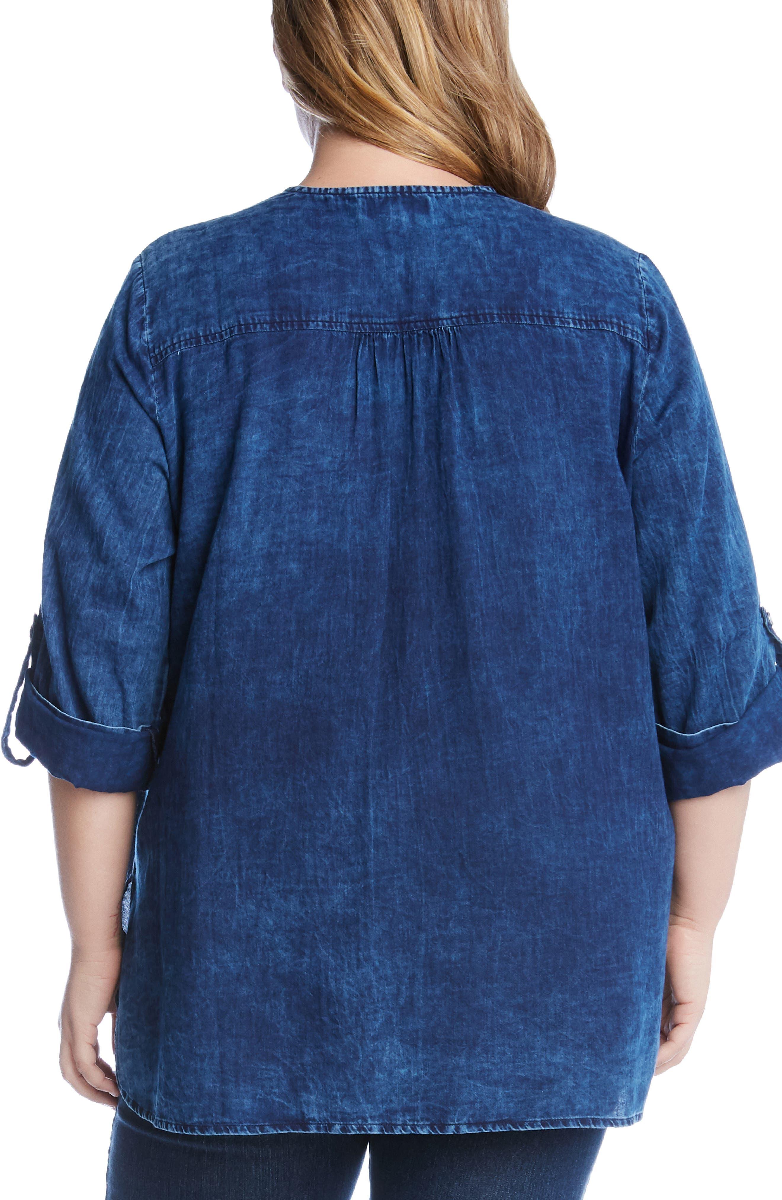 KAREN KANE, High/Low Shirttail Denim Top, Alternate thumbnail 2, color, 400