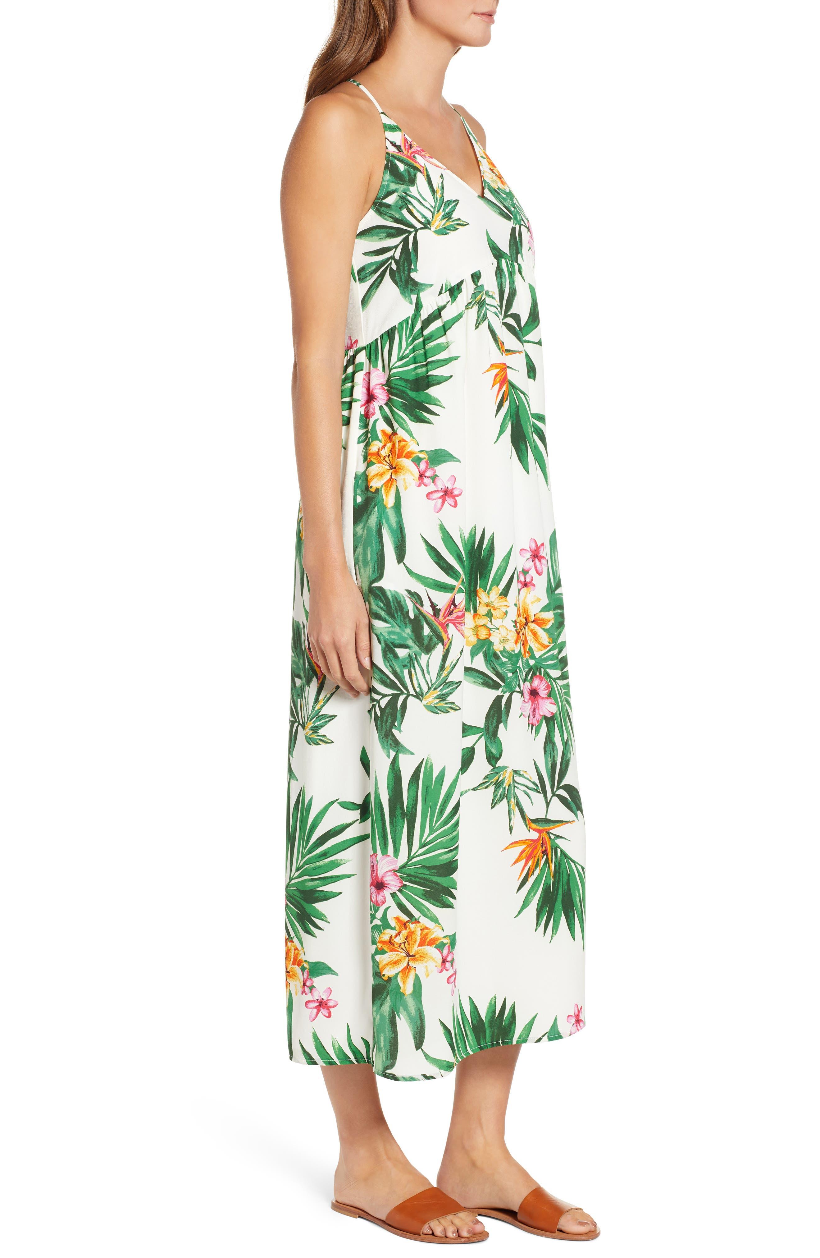 GIBSON, x Hi Sugarplum! Palm Springs Festival Maxi Dress, Alternate thumbnail 3, color, BIRD OF PARADISE