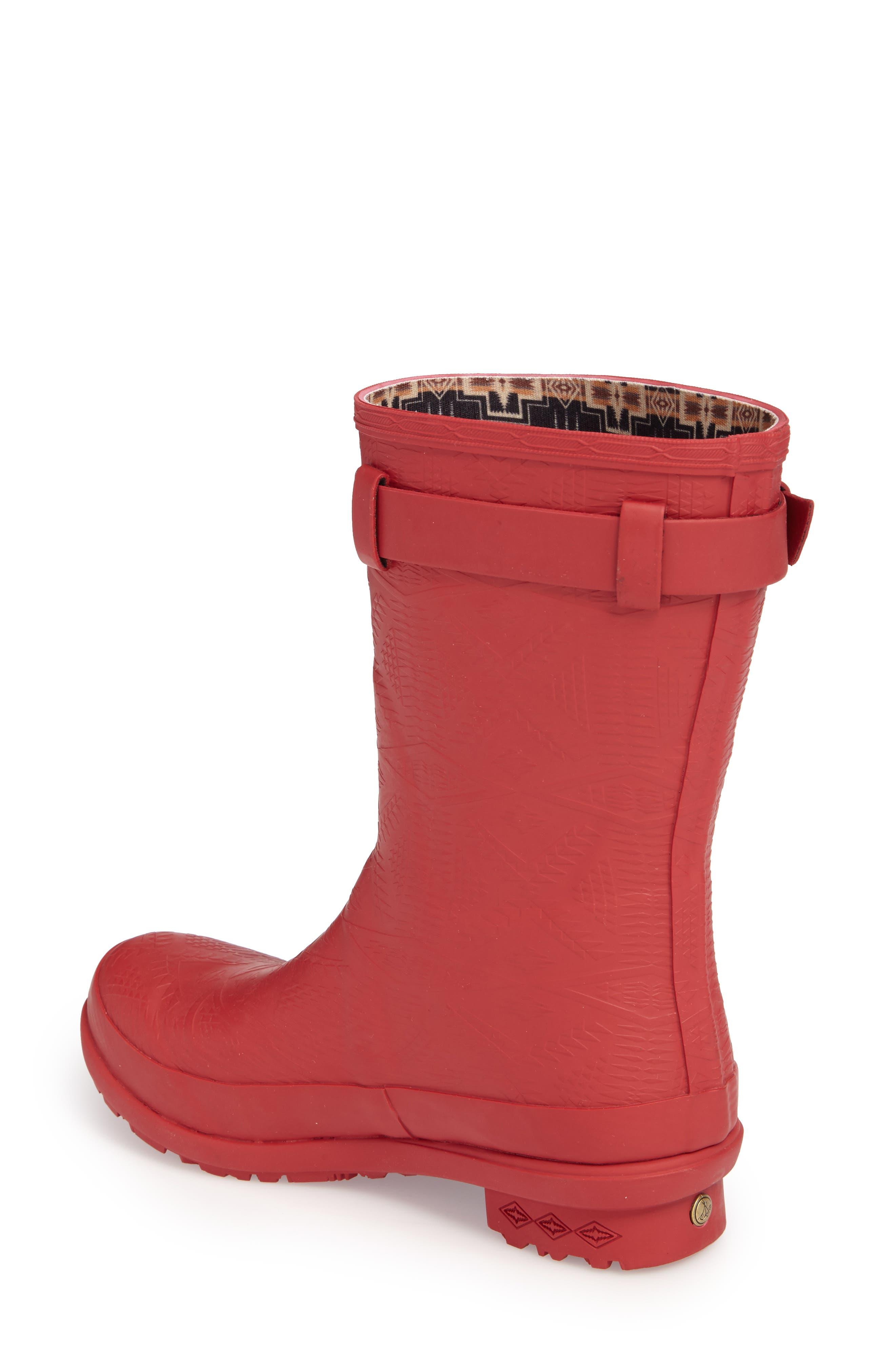 PENDLETON, Embossed Short Waterproof Rain Boot, Alternate thumbnail 2, color, SCARLET
