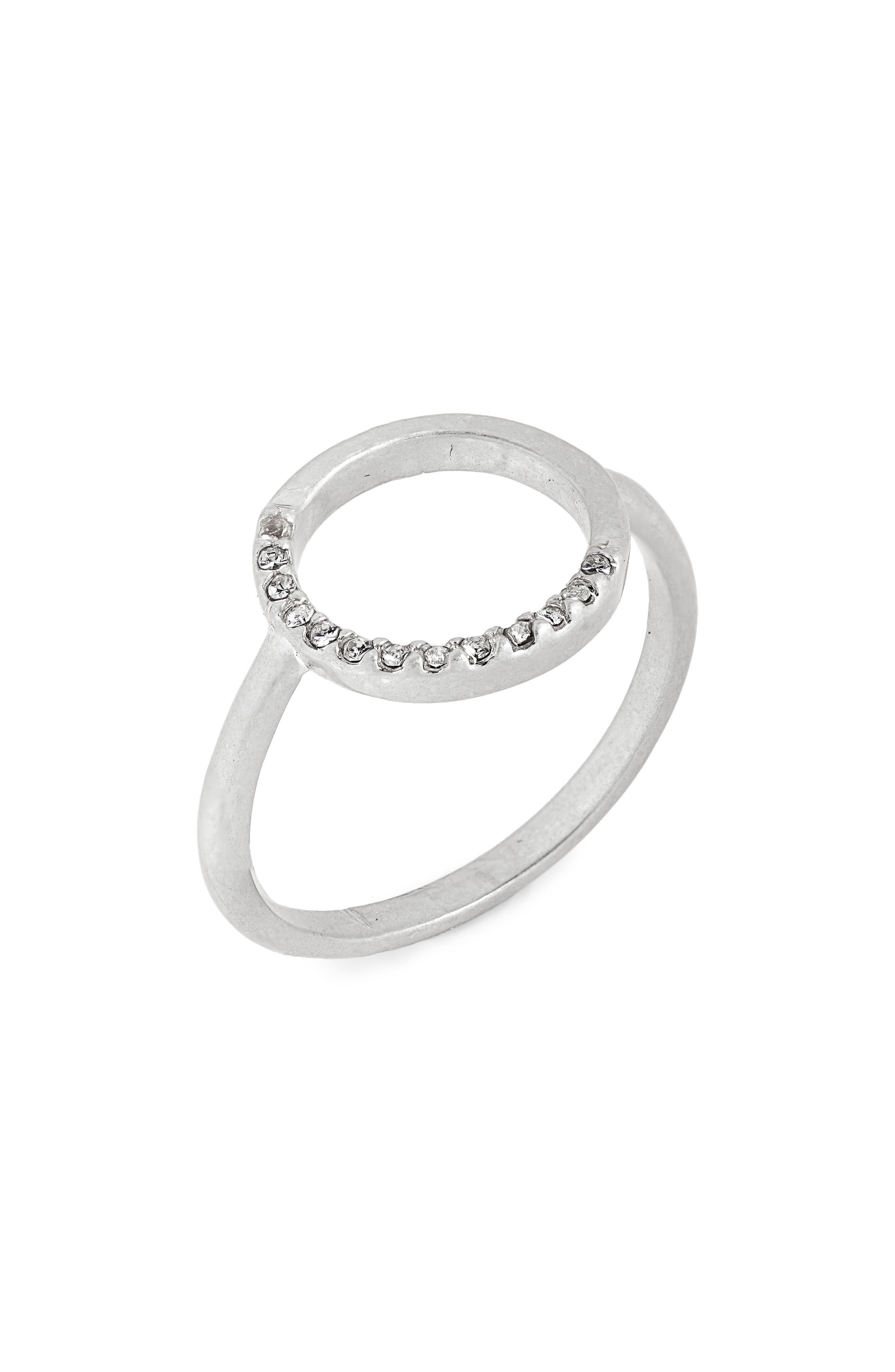 MADEWELL Luster Circle Pavé Ring, Main, color, LIGHT SILVER OX