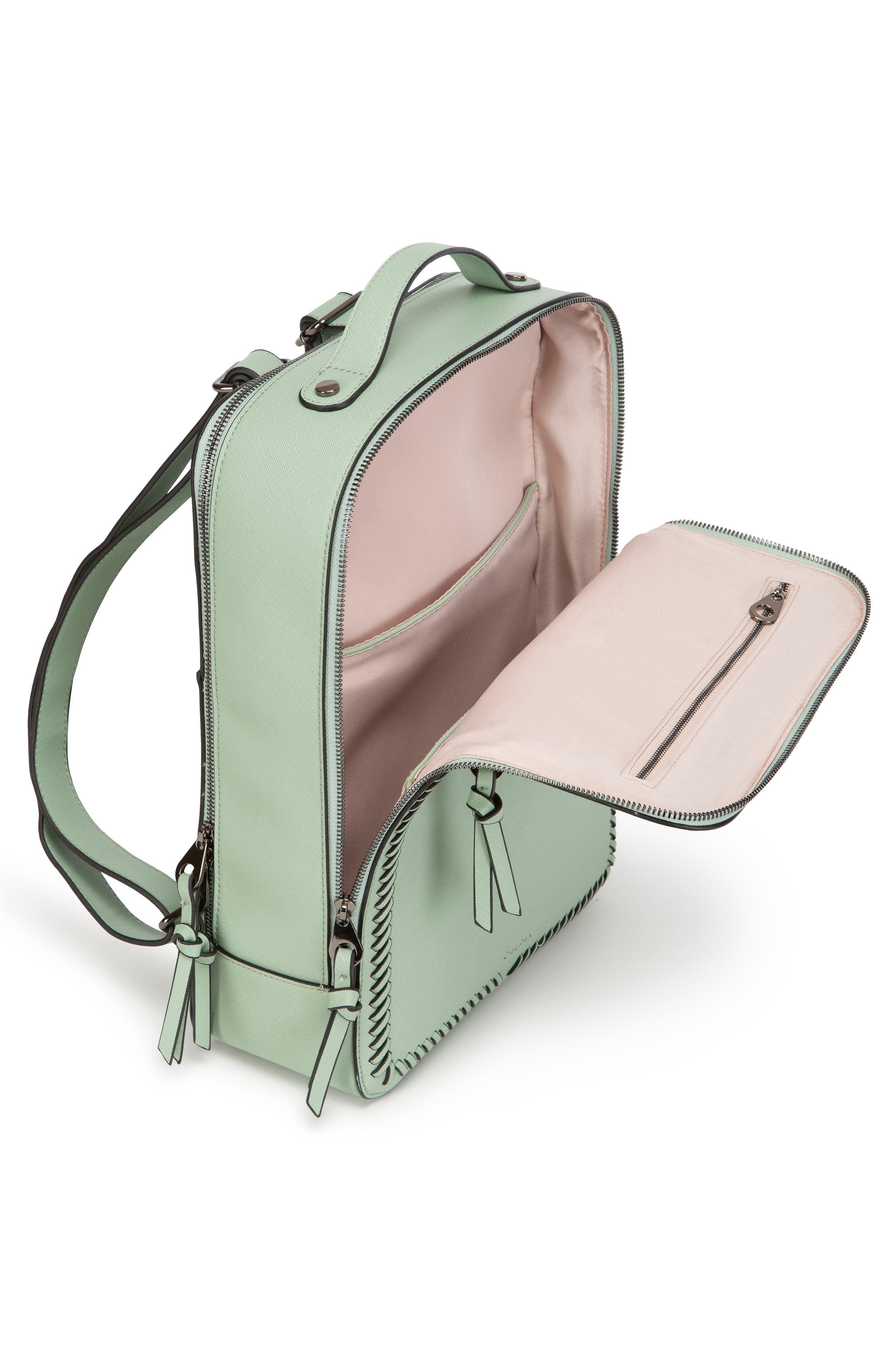 CALPAK, Kaya Faux Leather Laptop Backpack, Alternate thumbnail 3, color, MINT