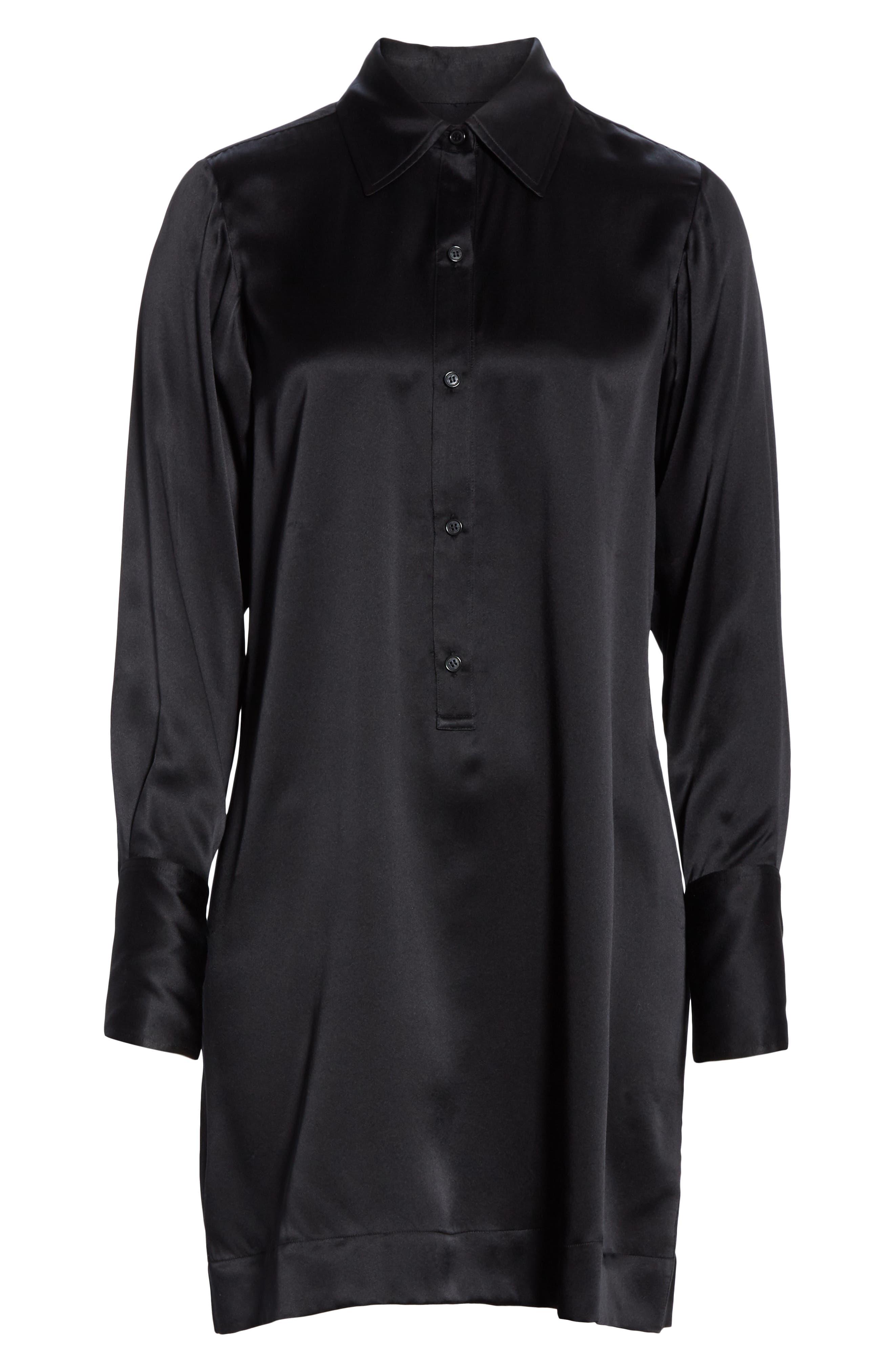 NILI LOTAN, Cassidy Silk Shirtdress, Alternate thumbnail 7, color, BLACK
