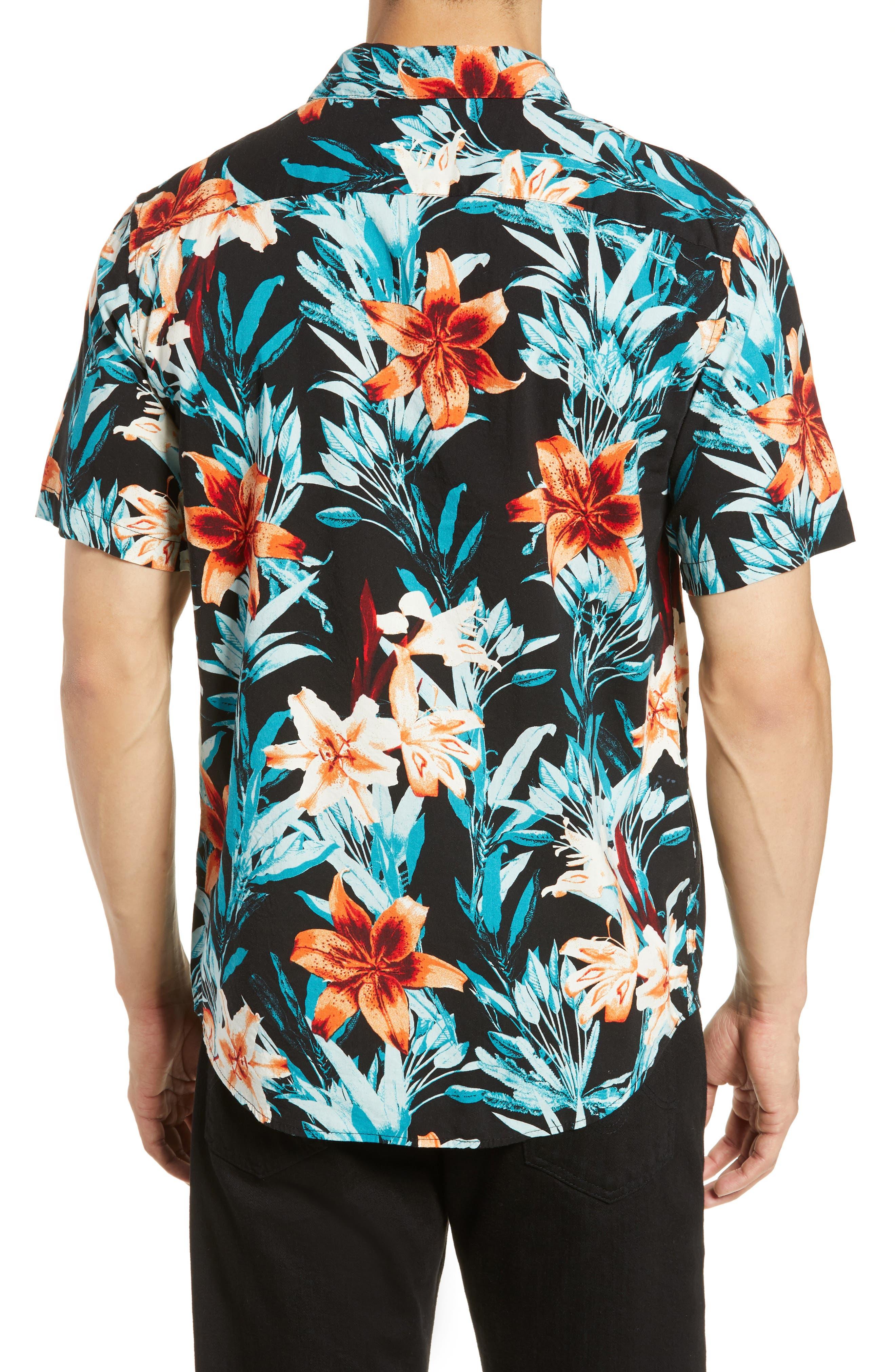 RVCA, Montague Floral Woven Shirt, Alternate thumbnail 3, color, 001