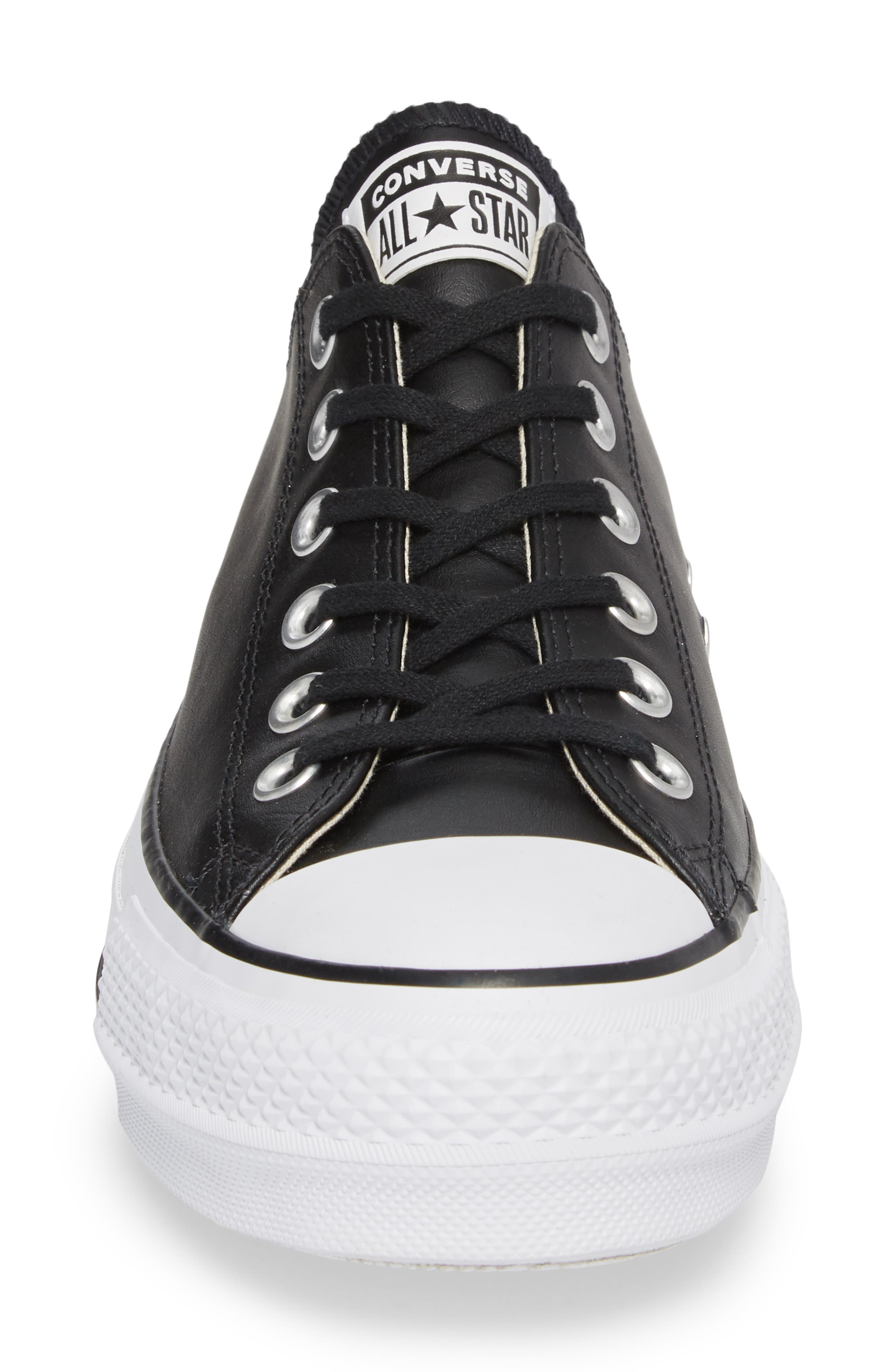 CONVERSE, Chuck Taylor<sup>®</sup> All Star<sup>®</sup> Platform Sneaker, Alternate thumbnail 4, color, BLACK/ BLACK LEATHER