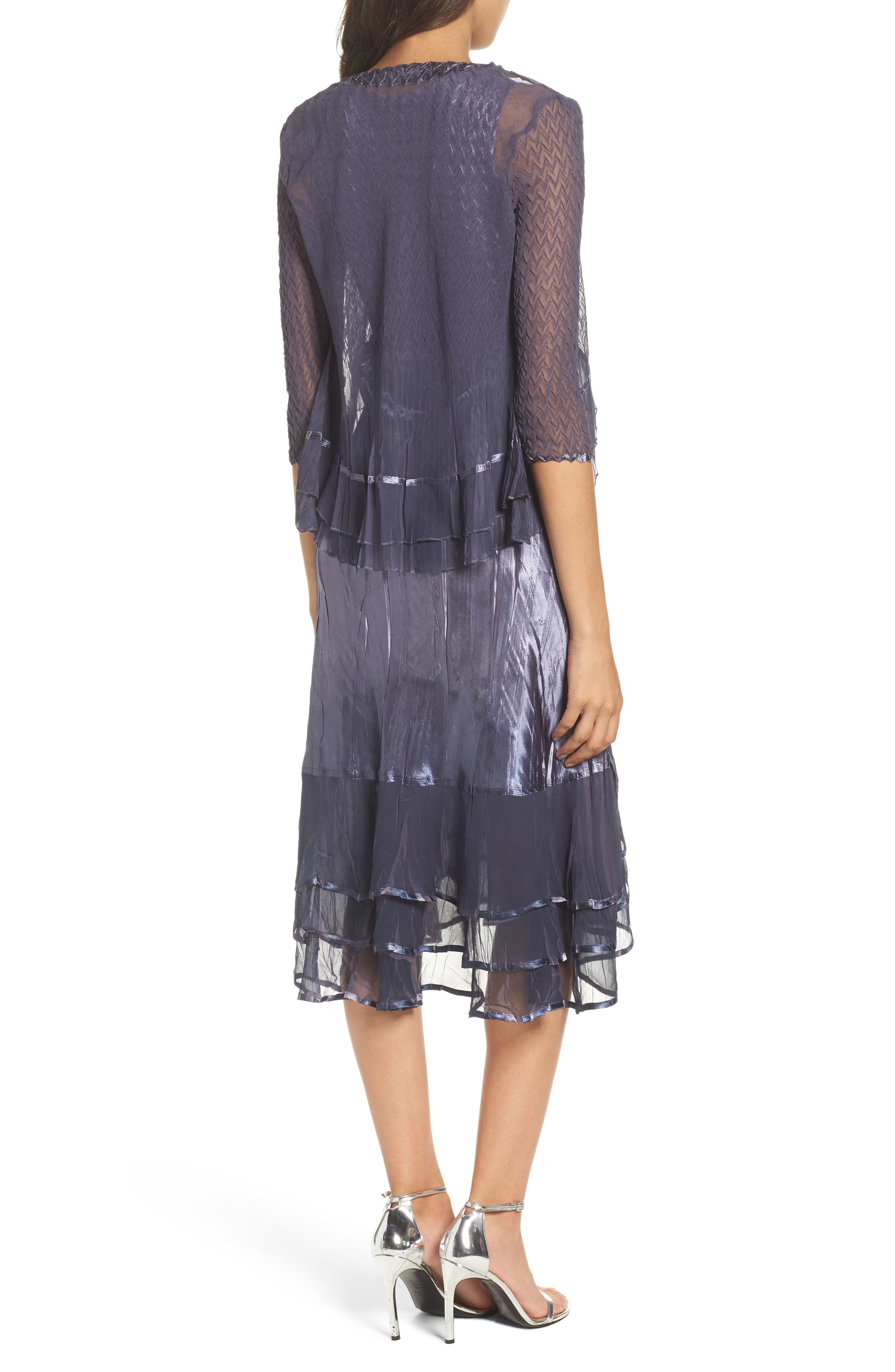 KOMAROV, Embellished Charmeuse Dress & Chiffon Jacket, Alternate thumbnail 2, color, 454