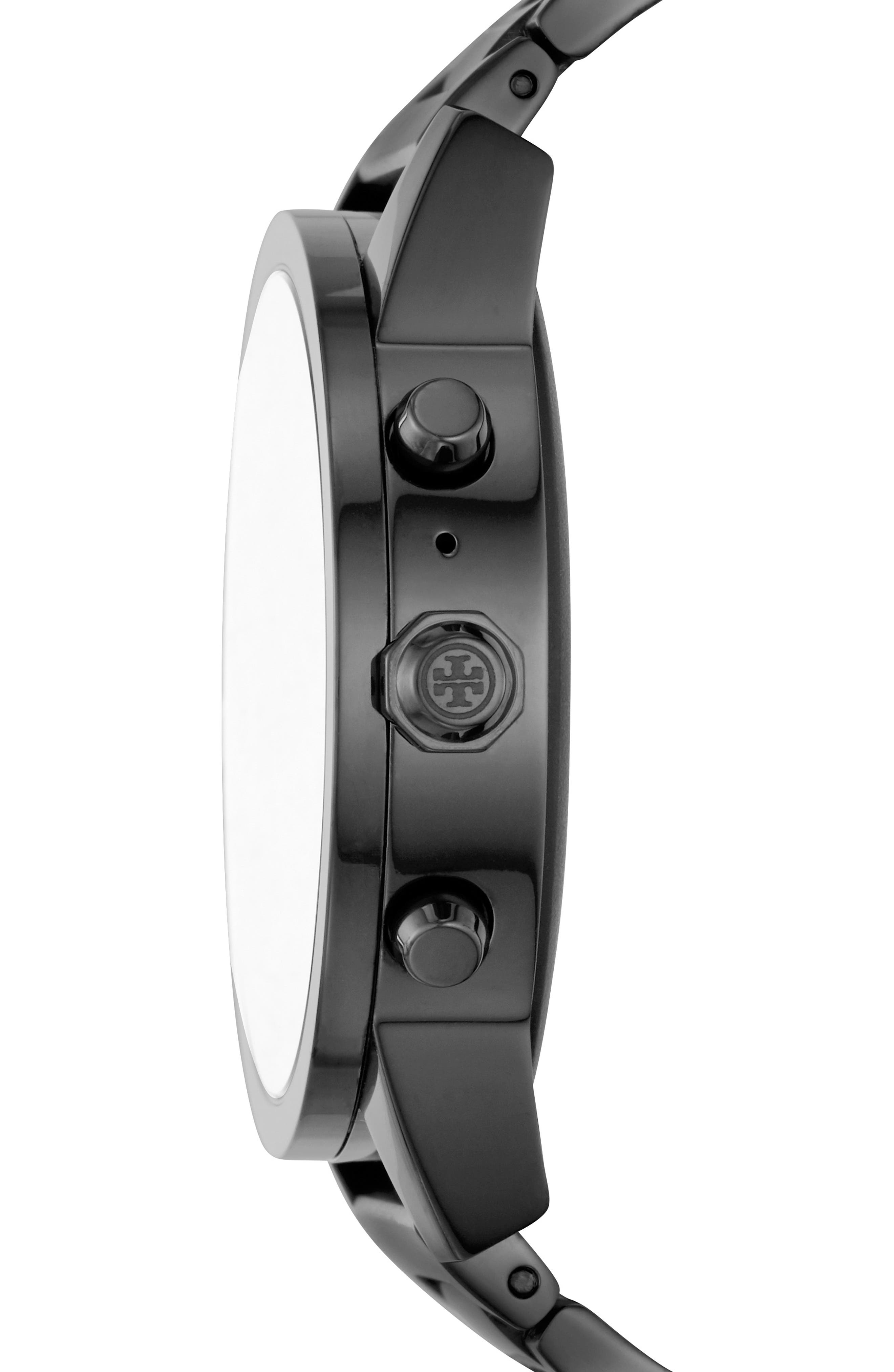 TORY BURCH, ToryTrack Gigi Touchscreen Smart Watch, 40mm, Alternate thumbnail 3, color, BLACK