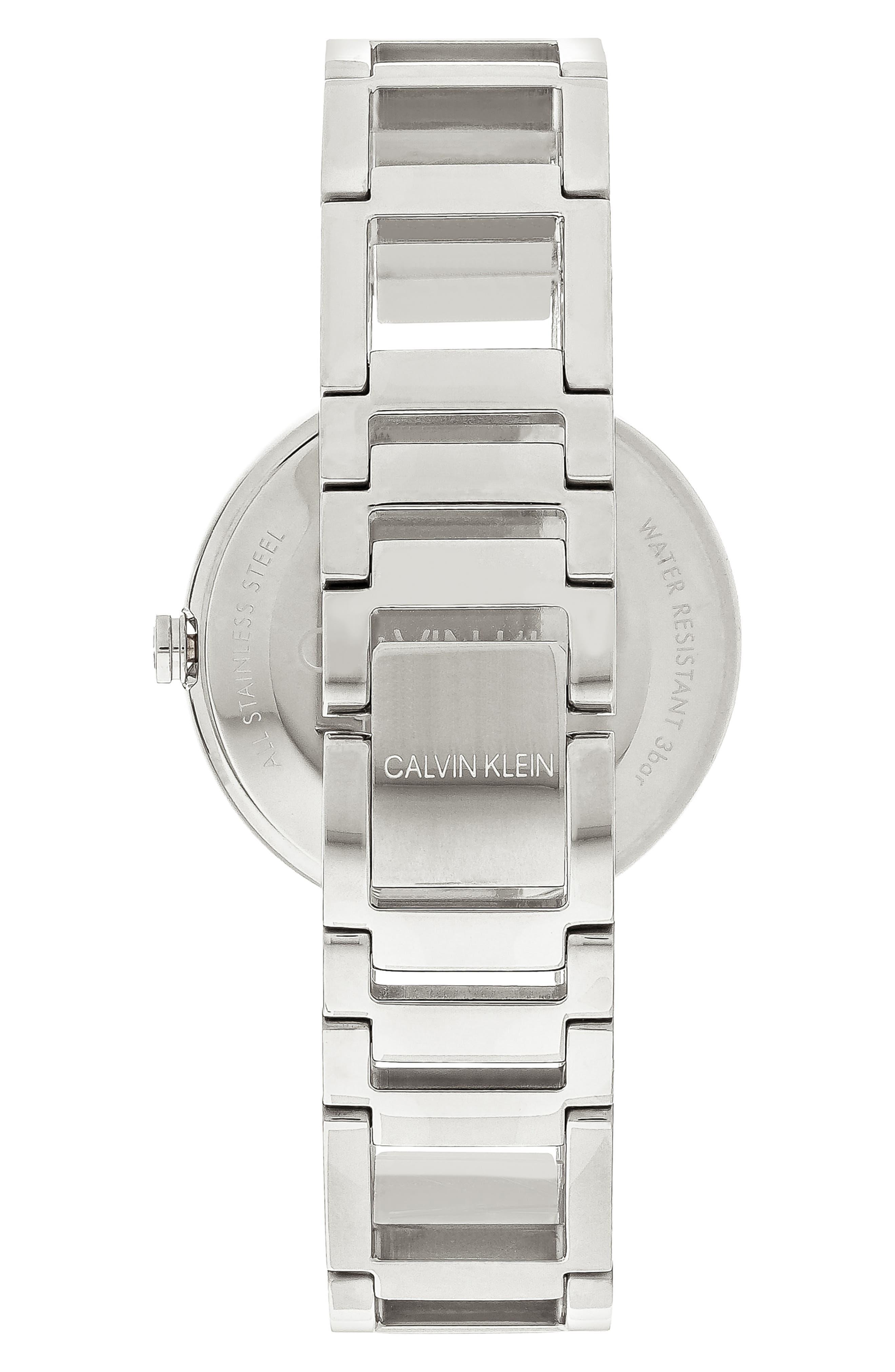 CALVIN KLEIN, Cheers Bracelet Watch, 32mm, Alternate thumbnail 2, color, SILVER/ BLACK/ SILVER
