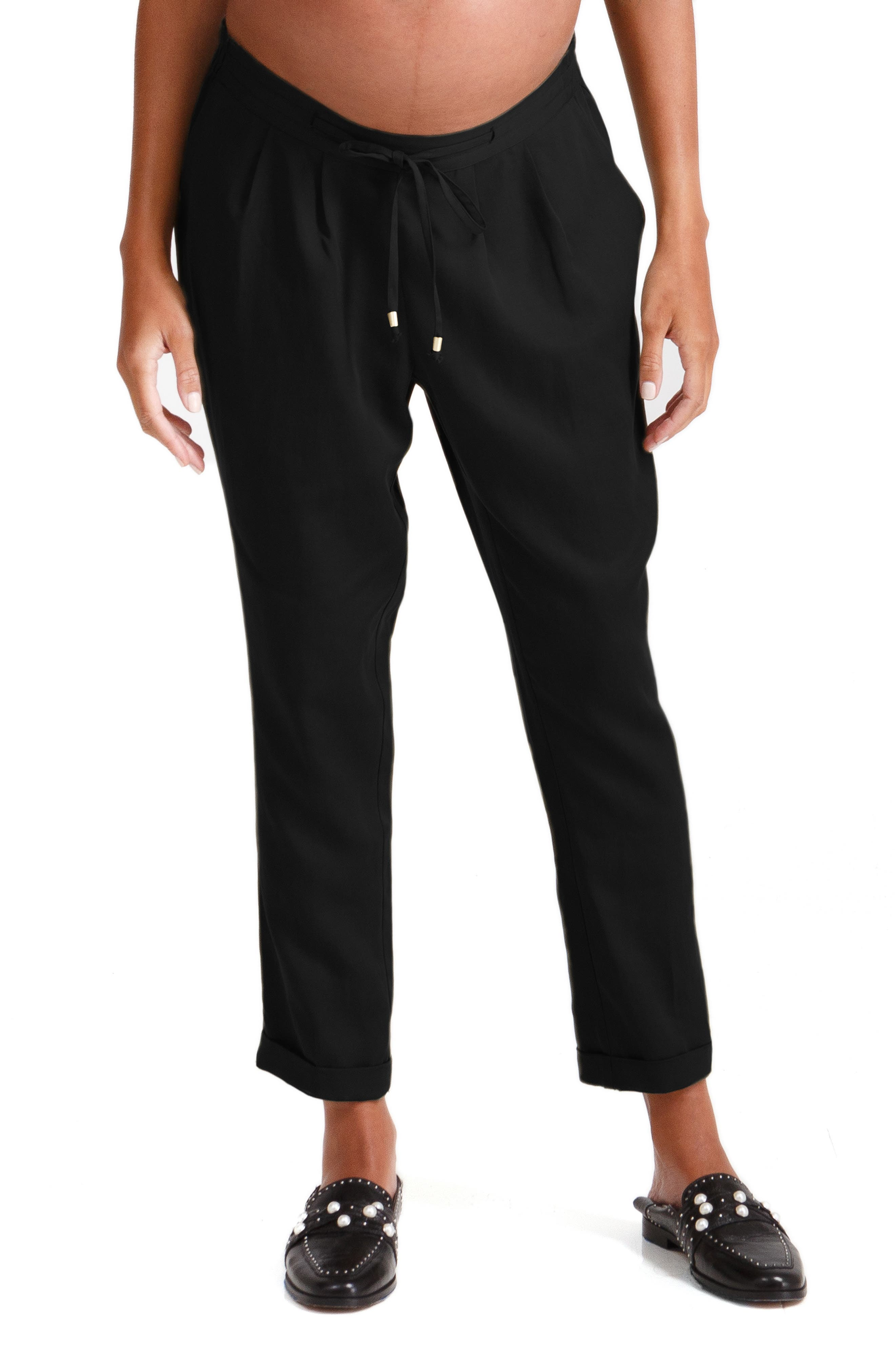 INGRID & ISABEL<SUP>®</SUP>, Under Belly Tapered Maternity Ankle Pants, Main thumbnail 1, color, JET BLACK