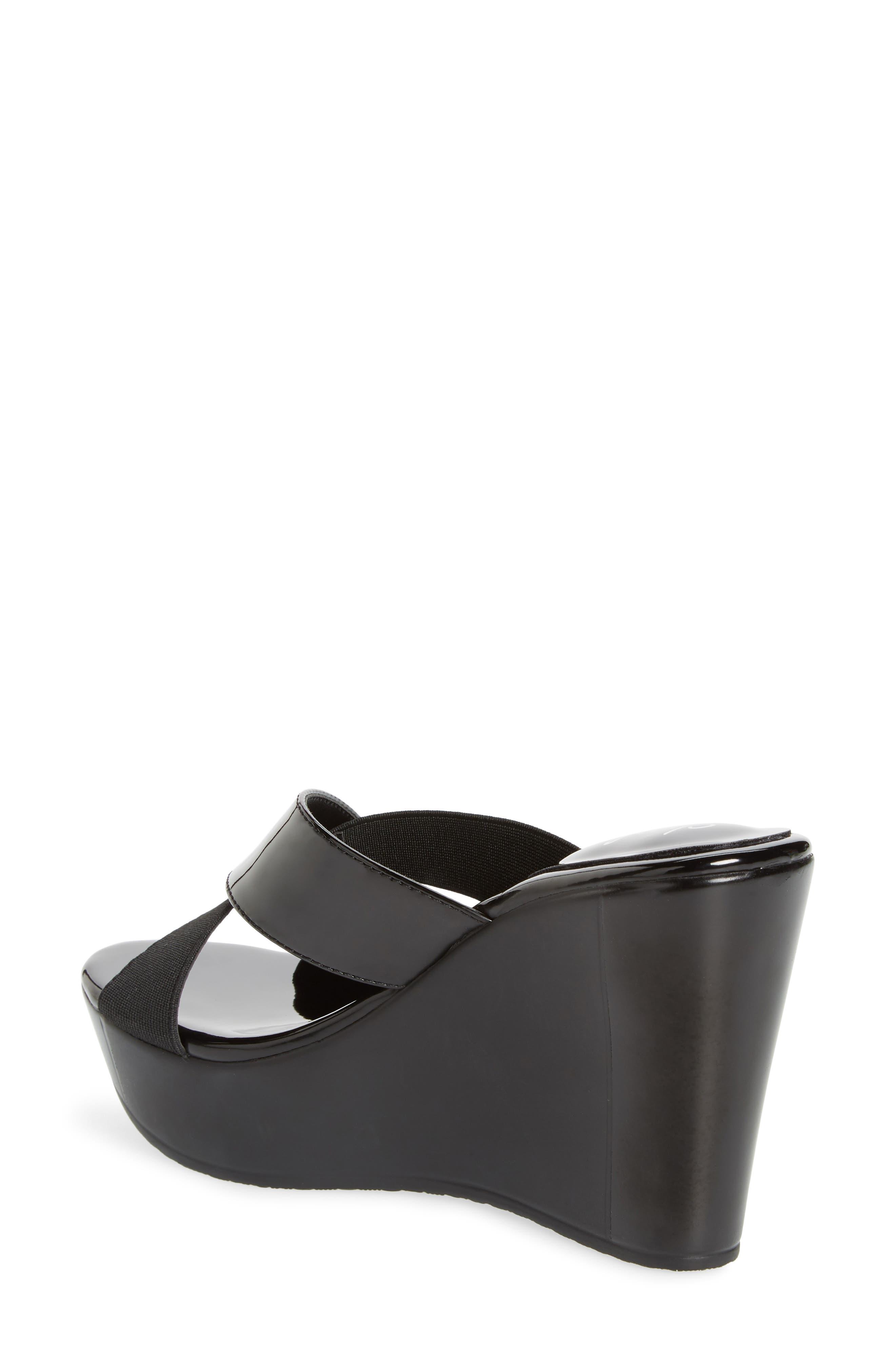 CHARLES BY CHARLES DAVID, Fuzho Platform Wedge Sandal, Alternate thumbnail 2, color, BLACK FABRIC/ FAUX PATENT