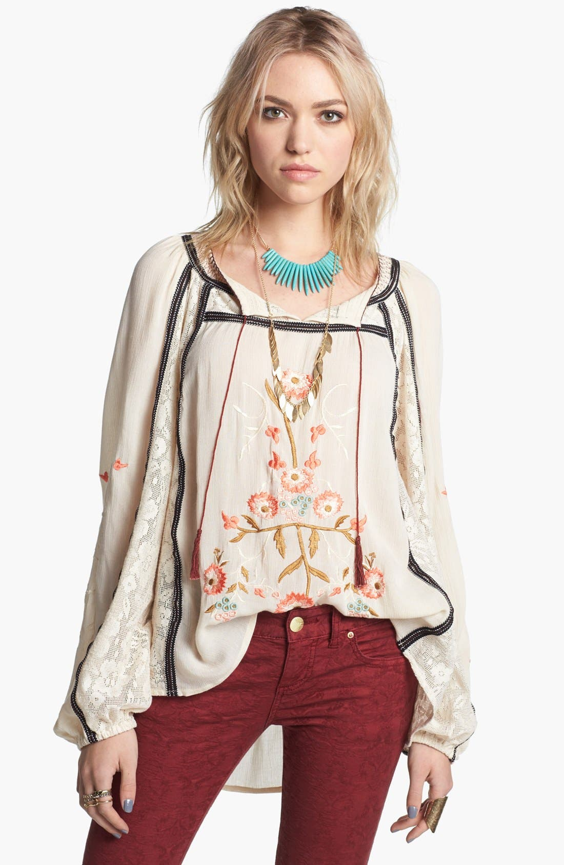 FREE PEOPLE, 'Tiger Lily' Embroidered Top, Main thumbnail 1, color, 900