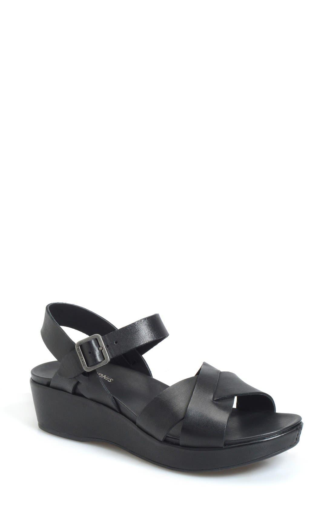 KORK-EASE<SUP>®</SUP>, 'Myrna 2.0' Cork Wedge Sandal, Main thumbnail 1, color, BLACK LEATHER