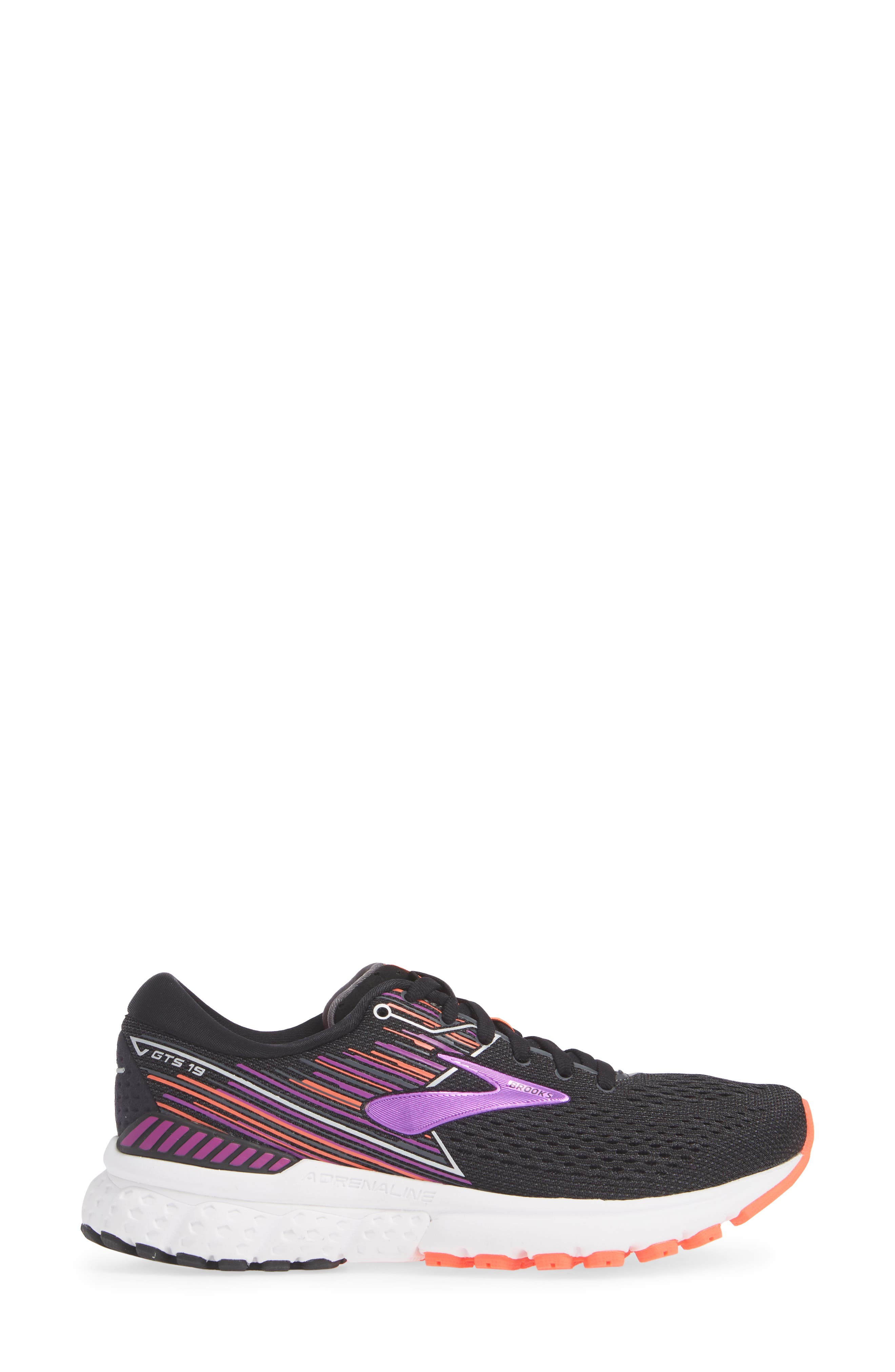BROOKS, Adrenaline GTS 19 Running Shoe, Alternate thumbnail 3, color, BLACK/ PURPLE/ CORAL