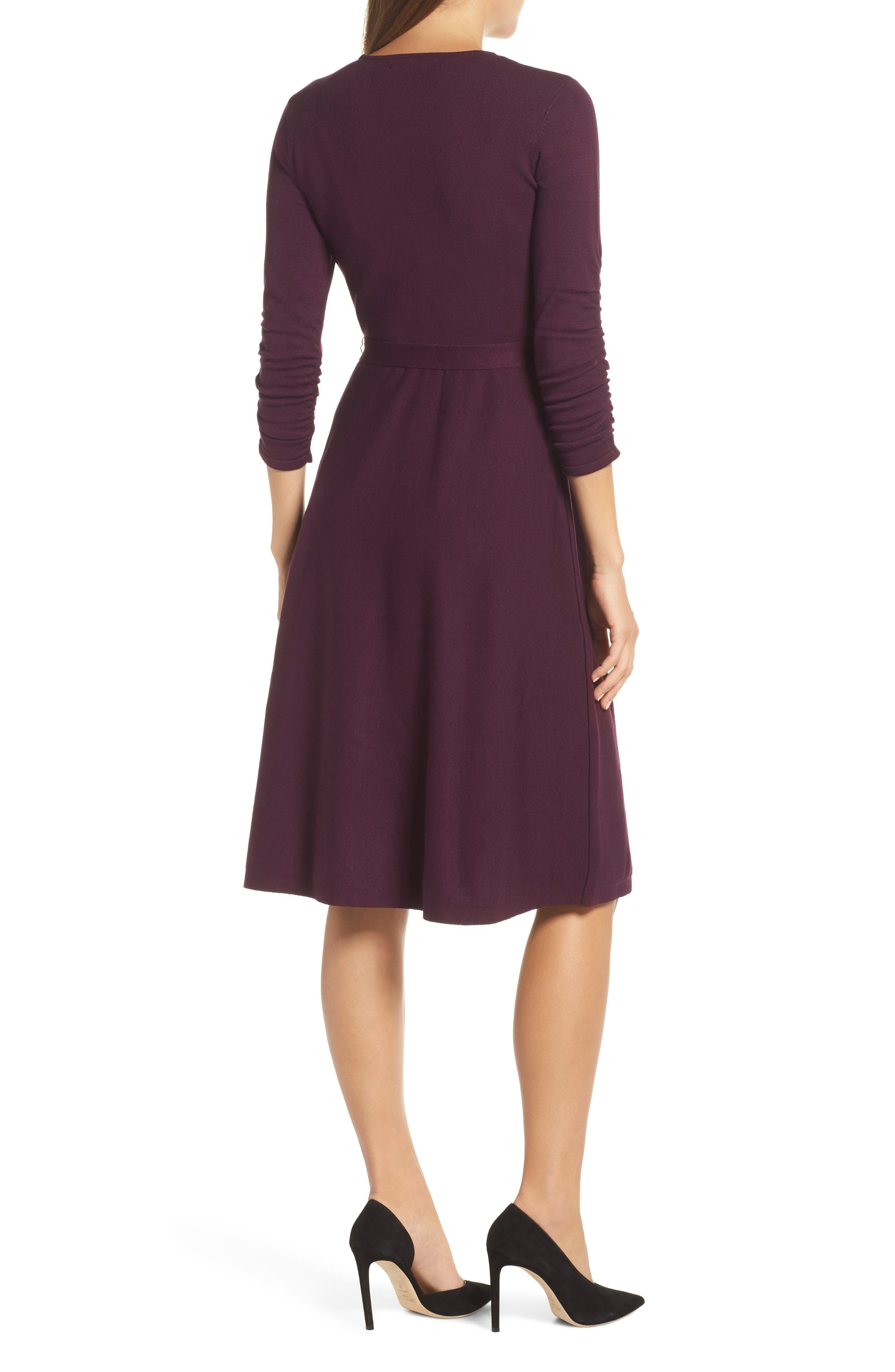 ELIZA J, Faux Wrap Sweater Dress, Alternate thumbnail 2, color, 930