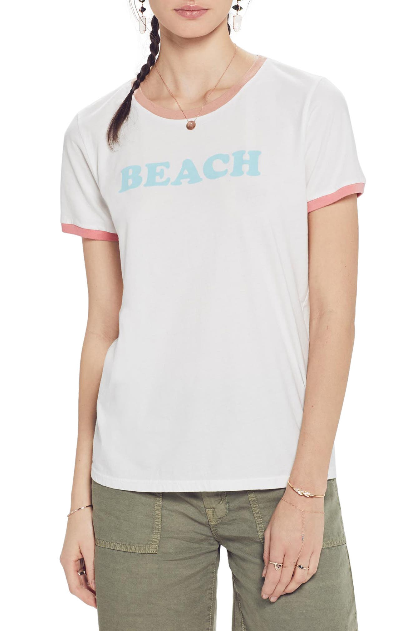 MOTHER, Itty Bitty Goodie Goodie Ringer Tee, Main thumbnail 1, color, BEACH