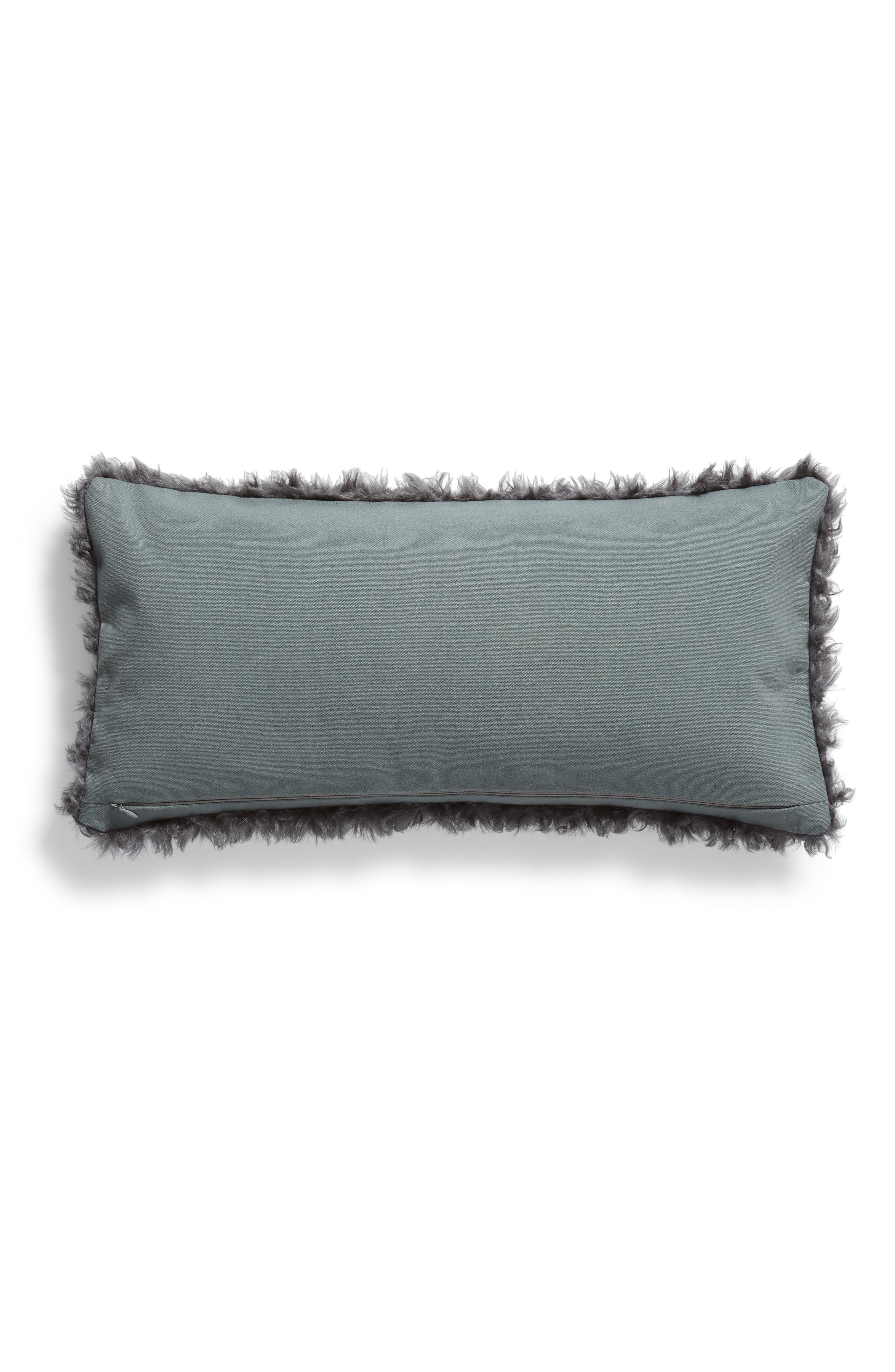 TREASURE & BOND, Faux Fur Accent Pillow, Alternate thumbnail 2, color, GREY ONYX