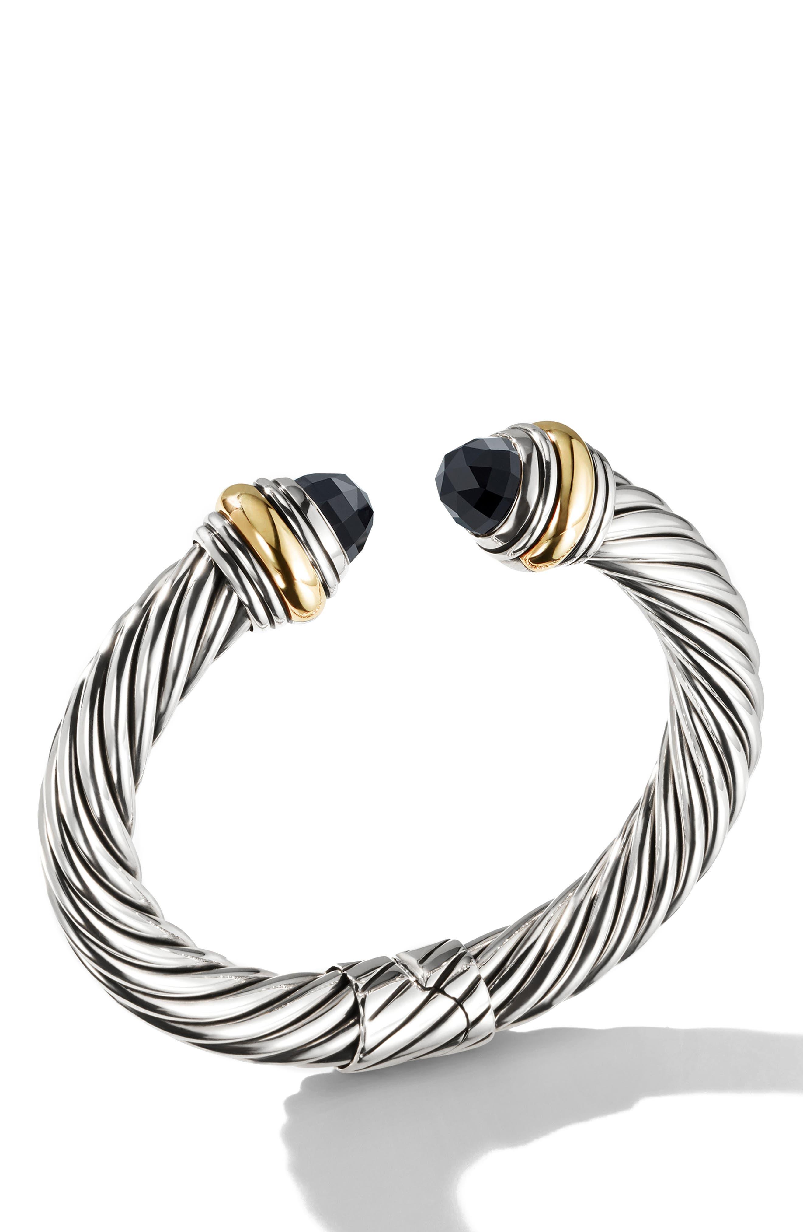 DAVID YURMAN, Cable Classics Bracelet, Alternate thumbnail 2, color, GOLD/ SILVER/ BLACK ONYX
