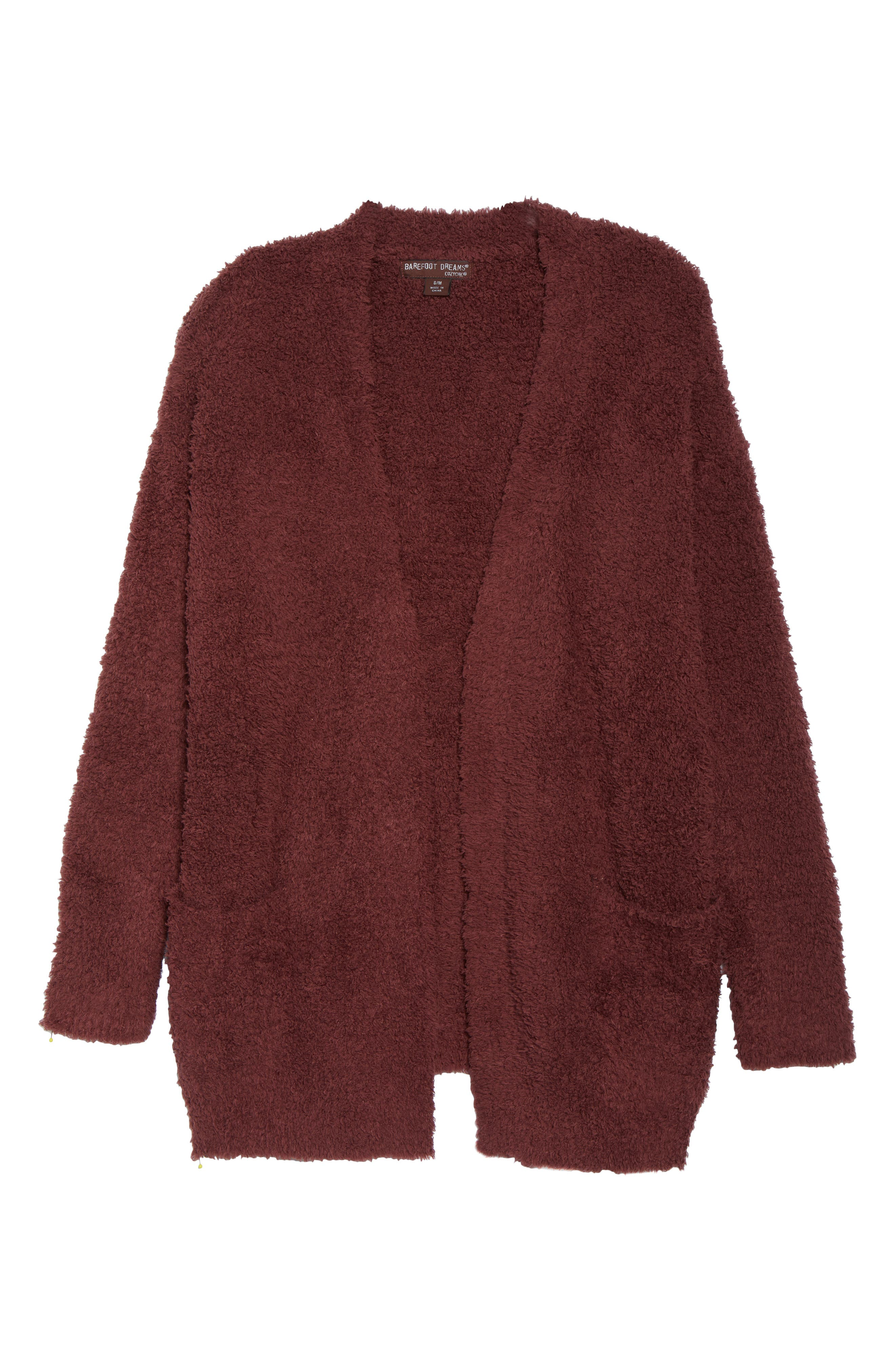 BAREFOOT DREAMS<SUP>®</SUP>, CozyChic<sup>®</sup> Cardigan, Alternate thumbnail 6, color, ROSEWOOD