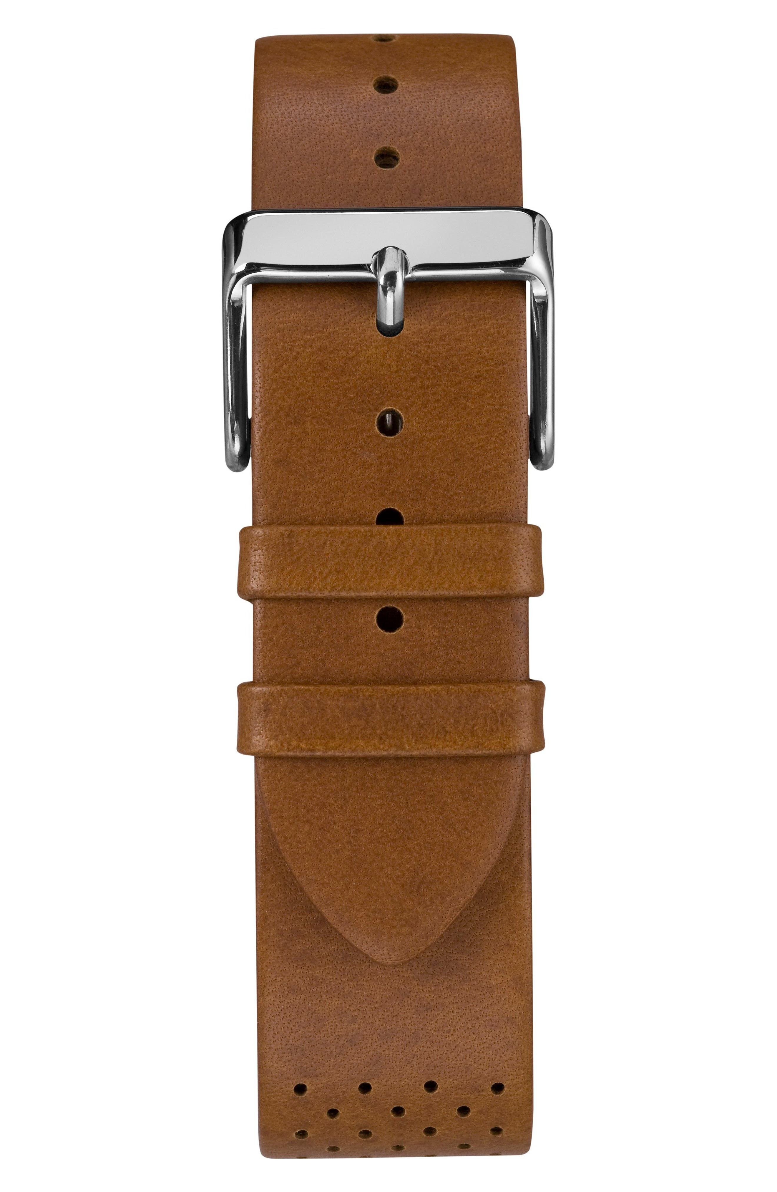 TIMEX<SUP>®</SUP>, Fairfield Chronograph Leather Strap Watch, 41mm, Alternate thumbnail 3, color, BROWN/ WHITE/ SILVER