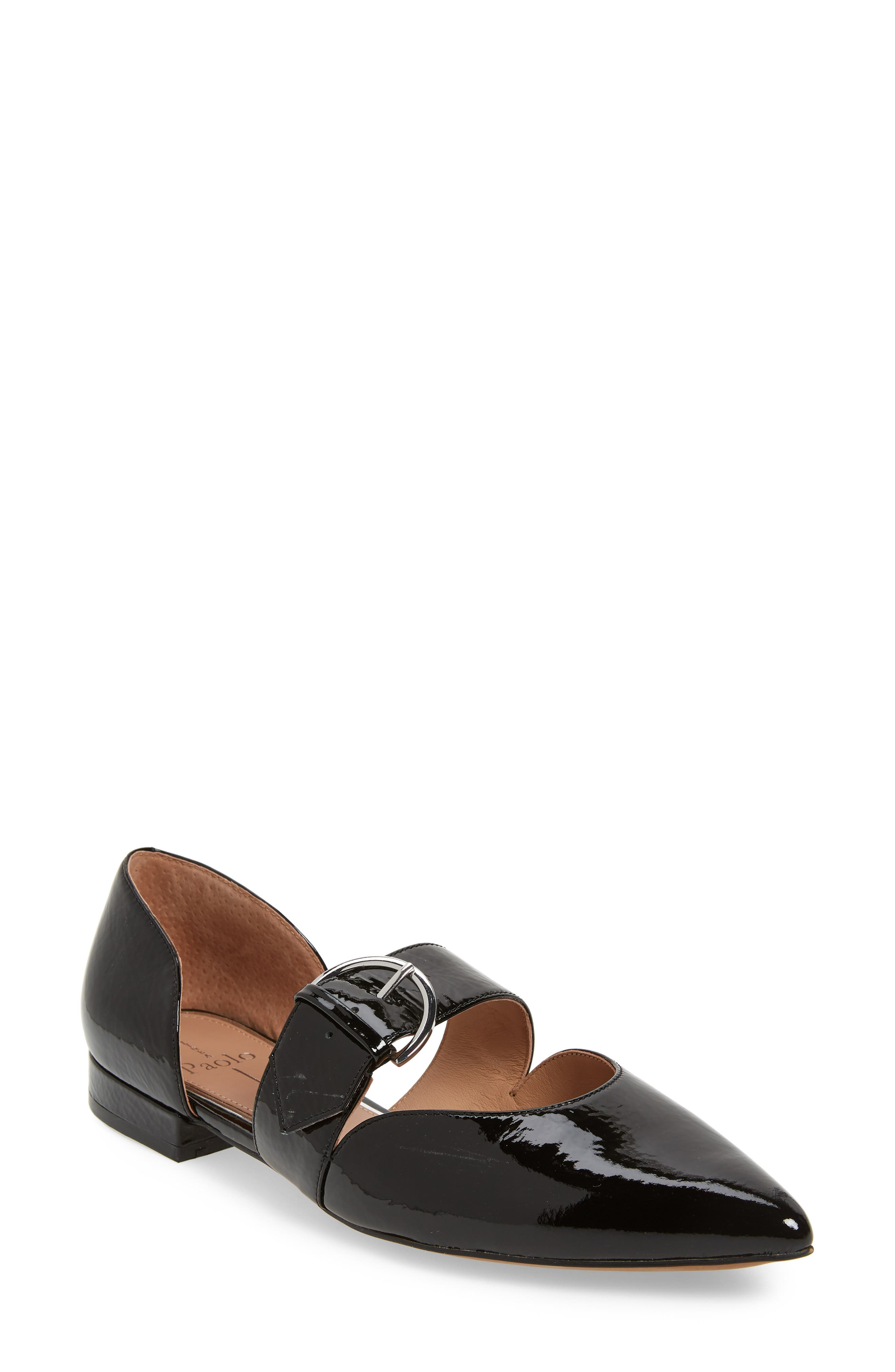 LINEA PAOLO, Dean Pointy Toe Flat, Main thumbnail 1, color, BLACK WRINKLE PATENT