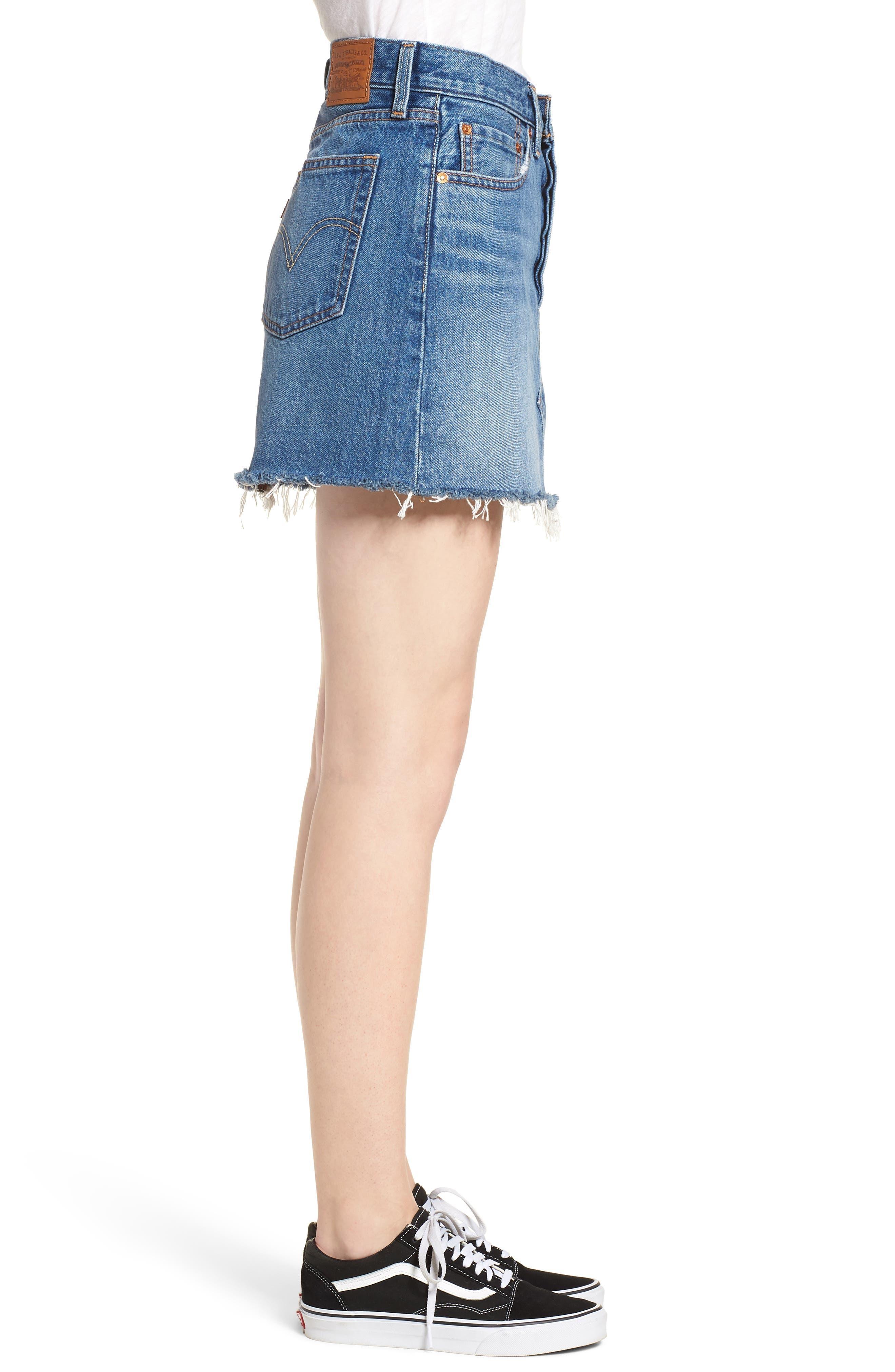 LEVI'S<SUP>®</SUP>, Deconstructed Denim Skirt, Alternate thumbnail 4, color, MIDDLE MAN