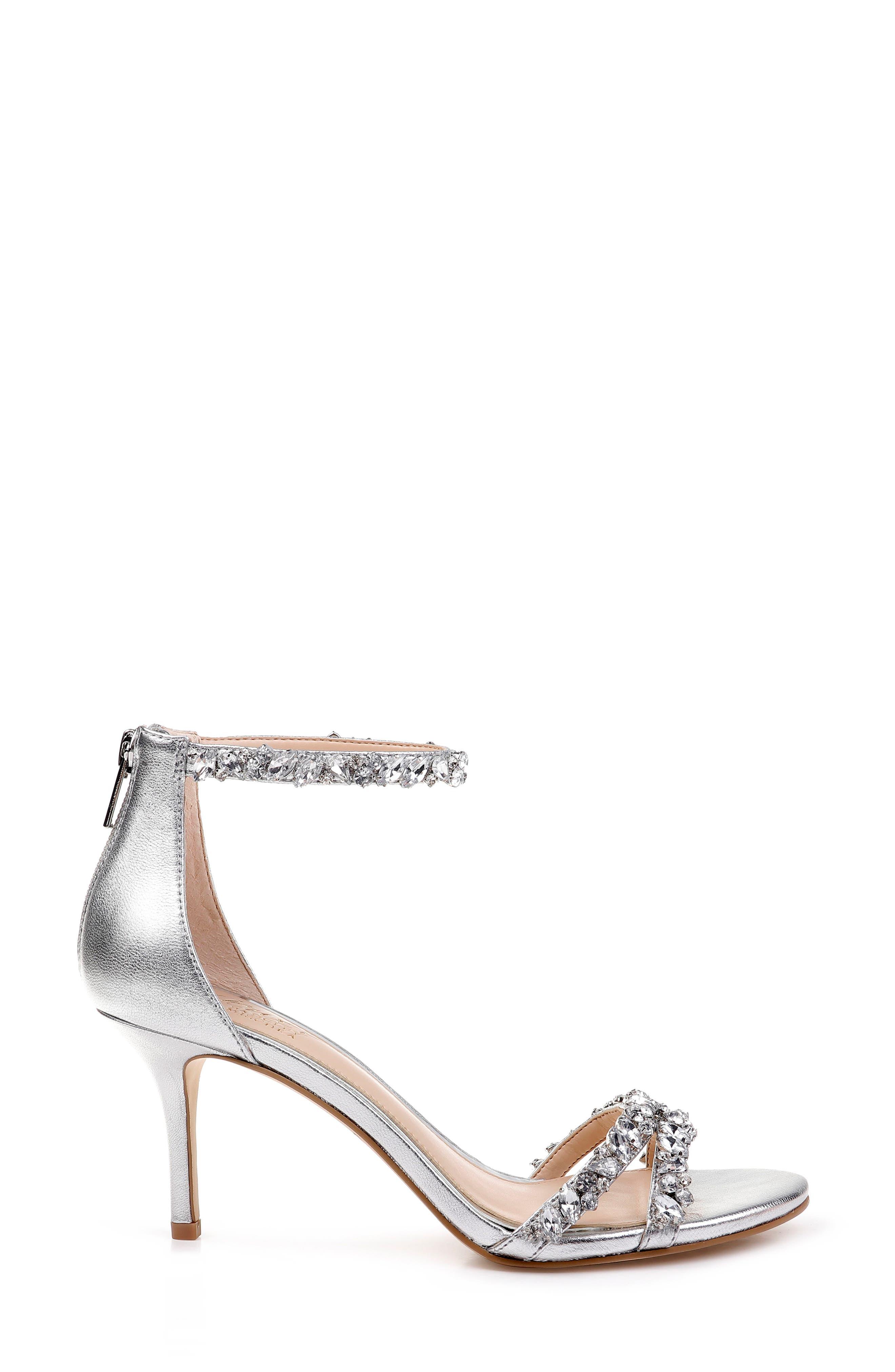 JEWEL BADGLEY MISCHKA, Darlene Embellished Ankle Strap Sandal, Alternate thumbnail 3, color, SILVER LEATHER