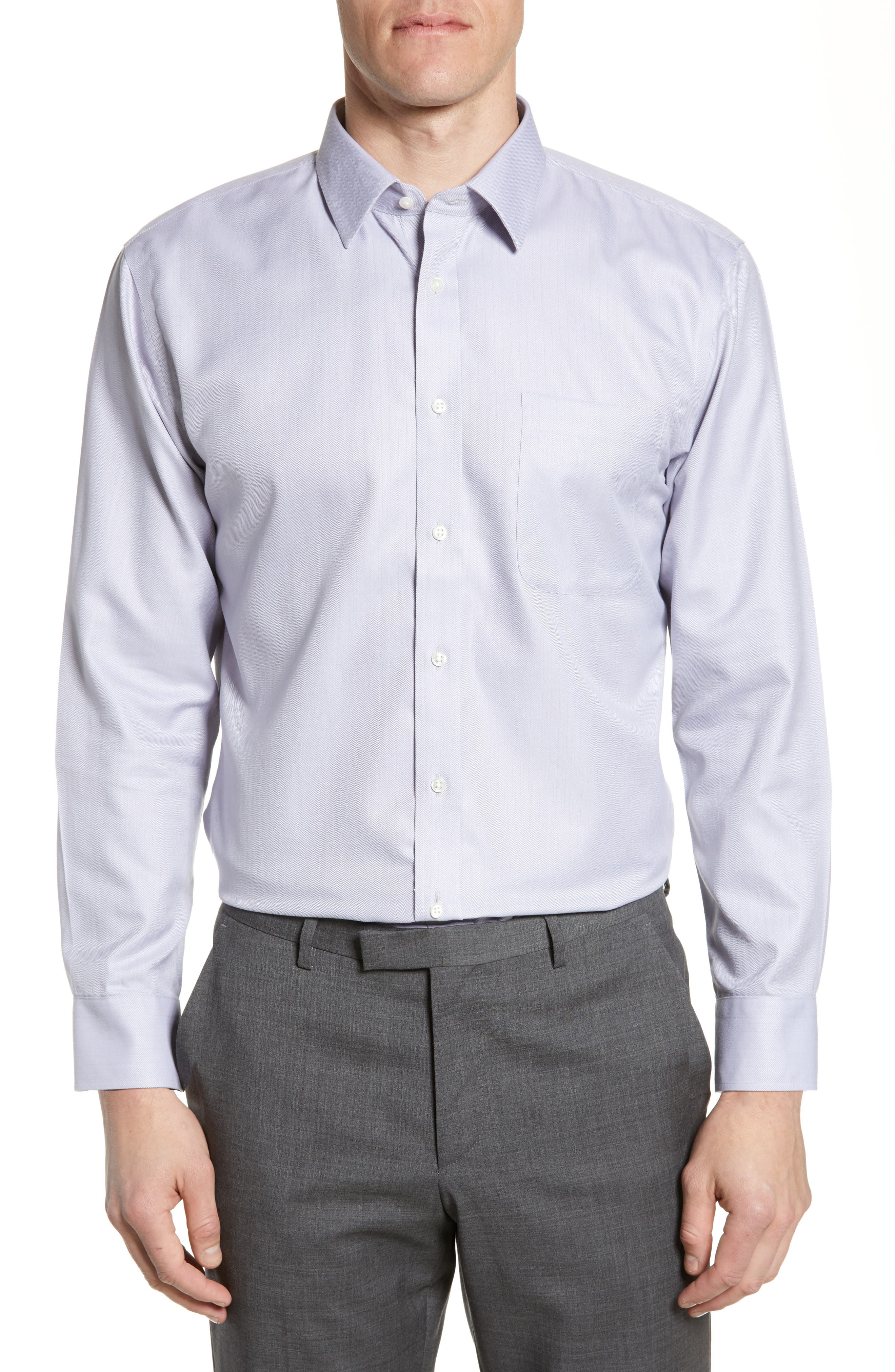 NORDSTROM MEN'S SHOP, Smartcare<sup>™</sup> Trim Fit Herringbone Dress Shirt, Main thumbnail 1, color, GREY DECEMBER