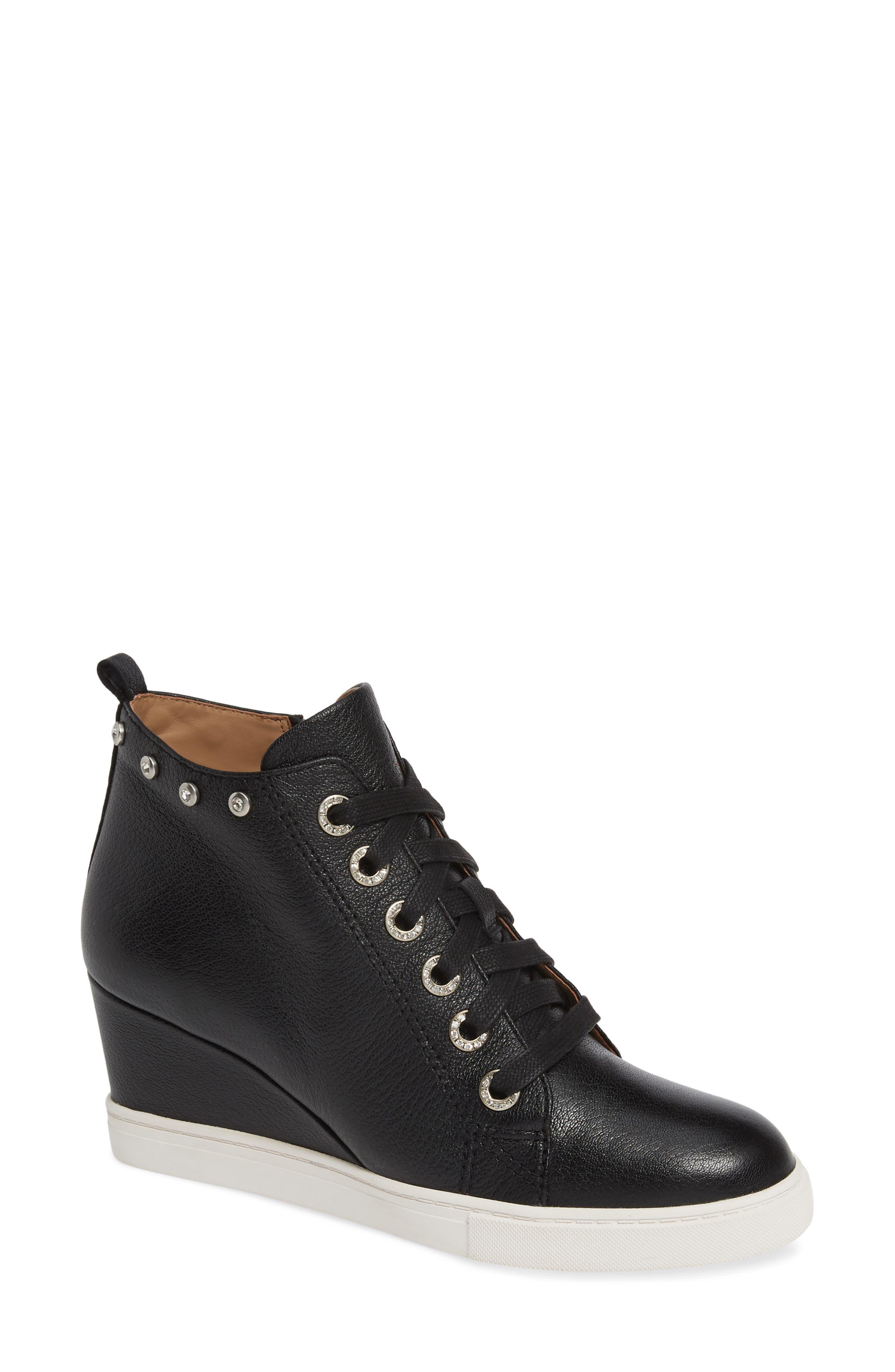 LINEA PAOLO, Flint Wedge Sneaker, Main thumbnail 1, color, BLACK LEATHER