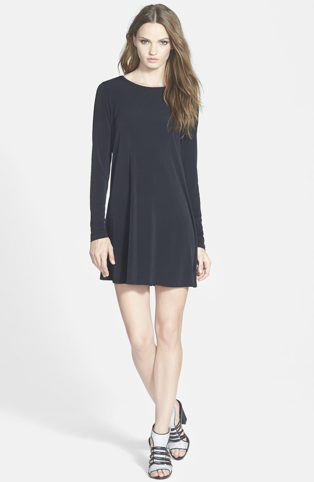 GLAMOROUS Long Sleeve Shift Dress, Main, color, 001