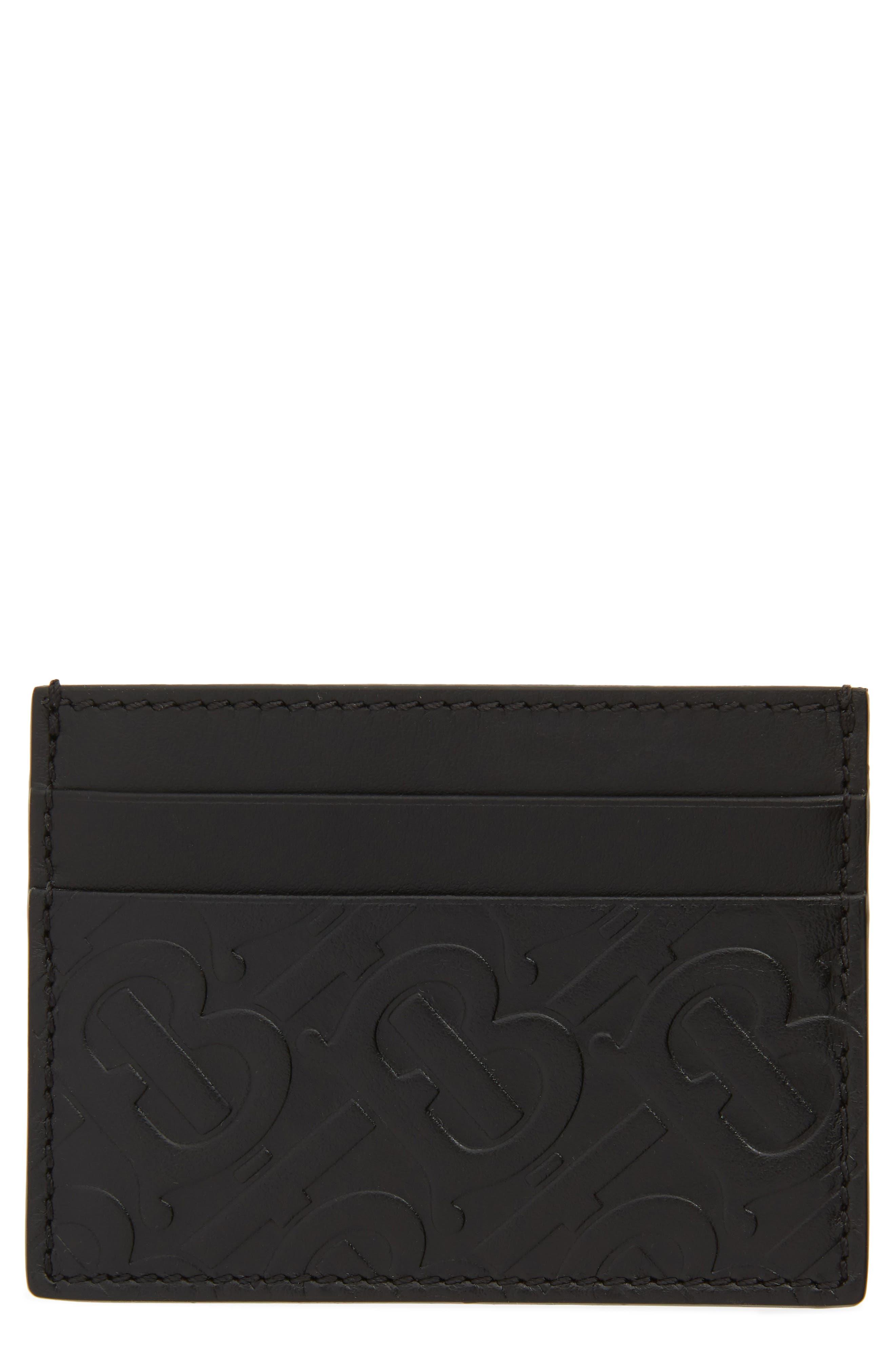 BURBERRY, Sandon Monogram Leather Card Case, Main thumbnail 1, color, BLACK