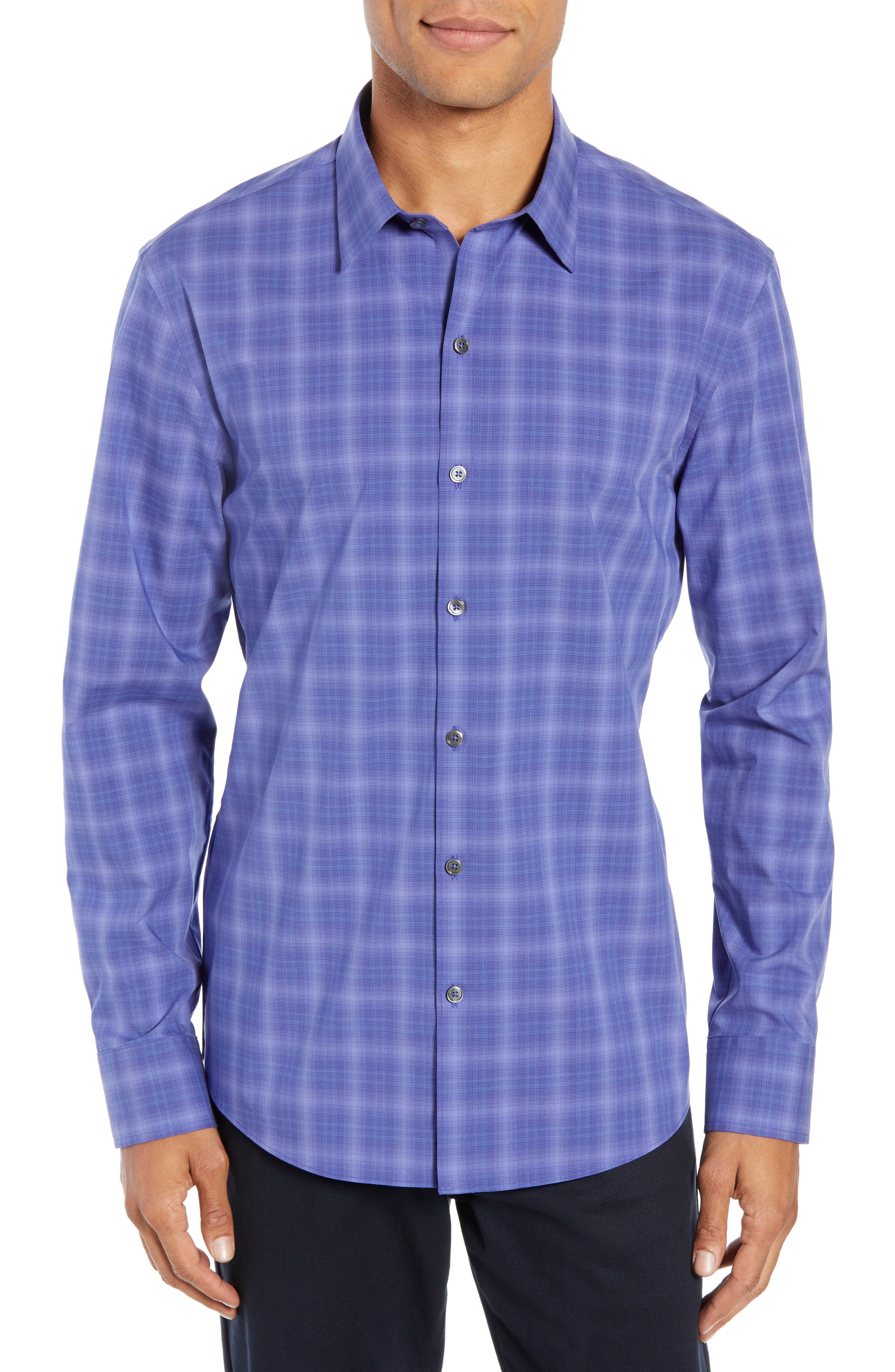 ZACHARY PRELL, Wandy Regular Fit Check Sport Shirt, Main thumbnail 1, color, LIGHT PURPLE