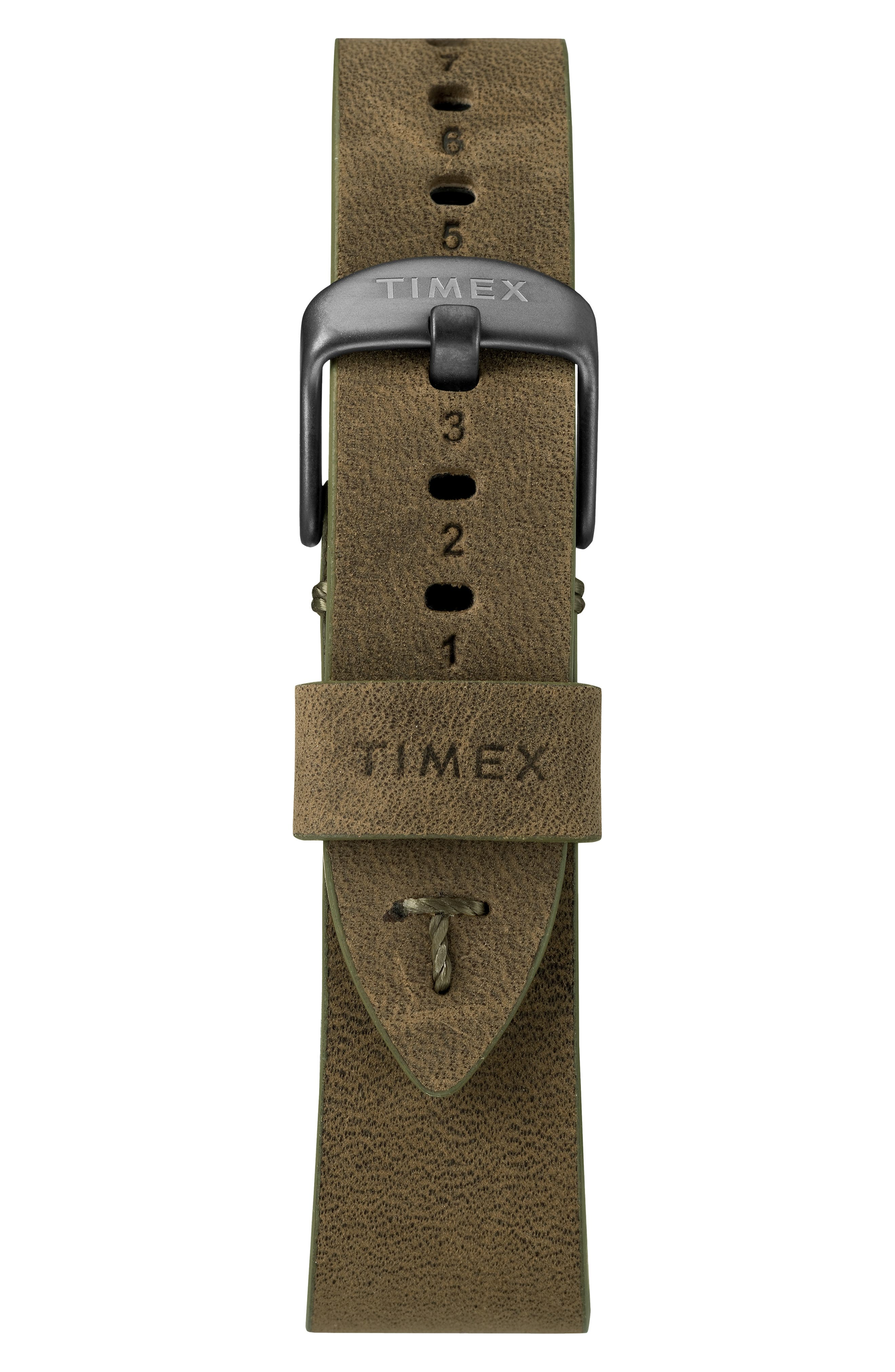 TIMEX<SUP>®</SUP>, MK1 Chronograph Leather Strap Watch, 42mm, Alternate thumbnail 2, color, BROWN/ BLACK/ GREY