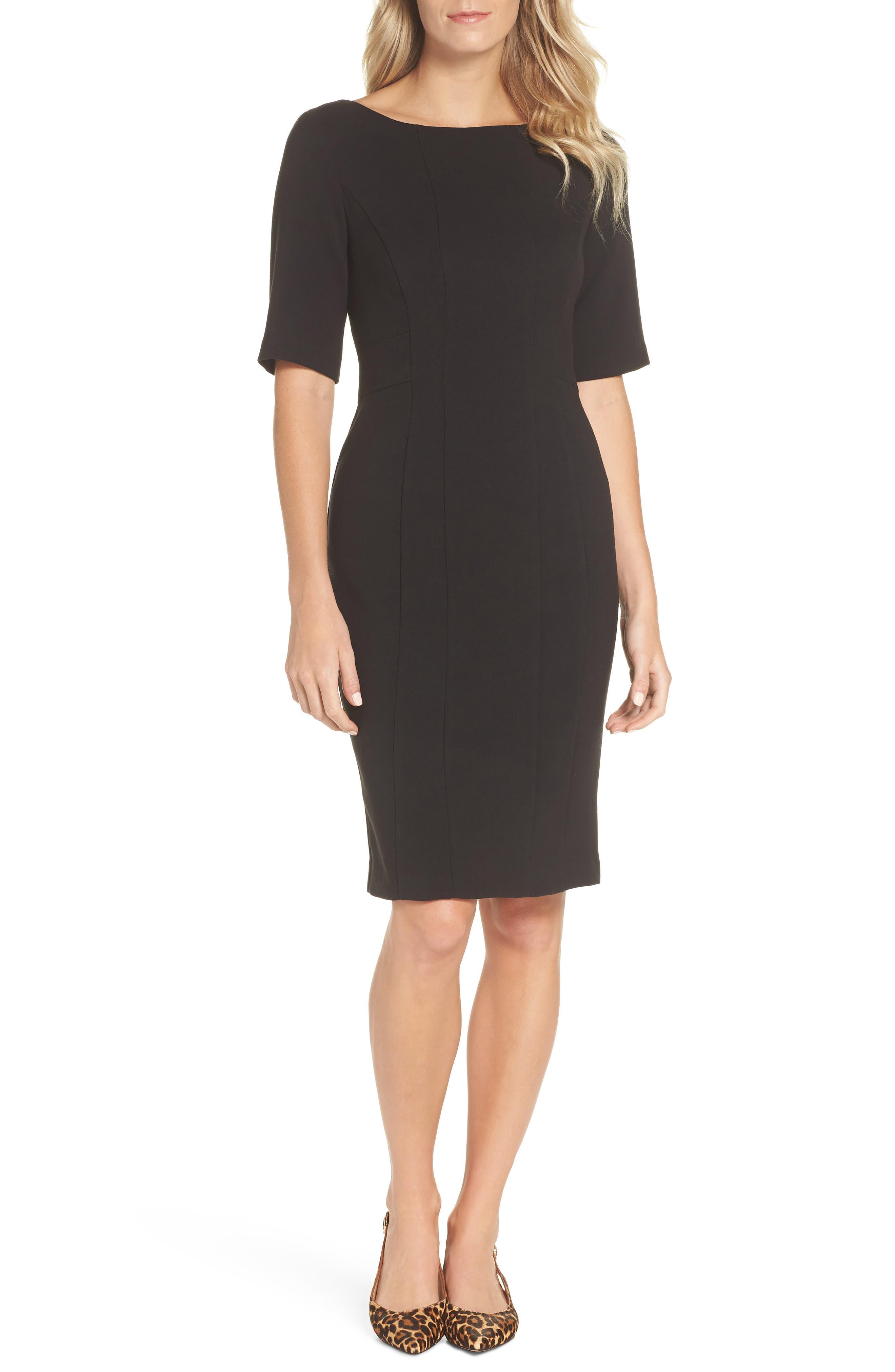 ELIZA J, Bateau Neck Crepe Sheath Dress, Main thumbnail 1, color, BLACK