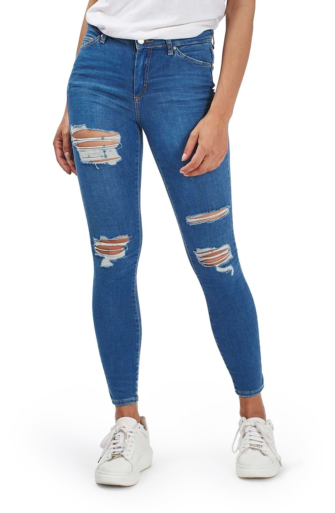 TOPSHOP, Moto Leigh Super Ripped Ankle Skinny Jeans, Main thumbnail 1, color, 400