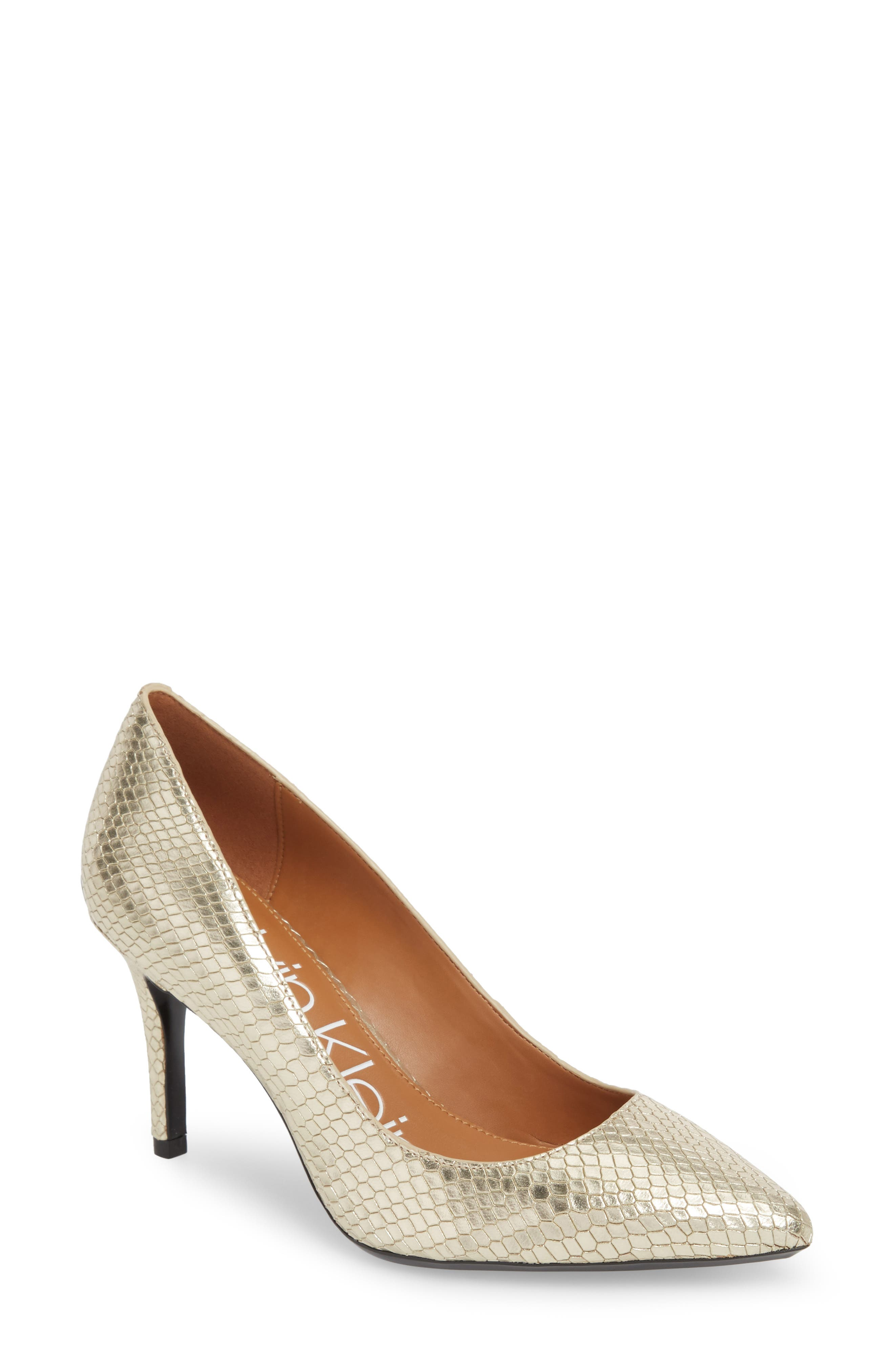 CALVIN KLEIN, 'Gayle' Pointy Toe Pump, Main thumbnail 1, color, SOFT GOLD LEATHER
